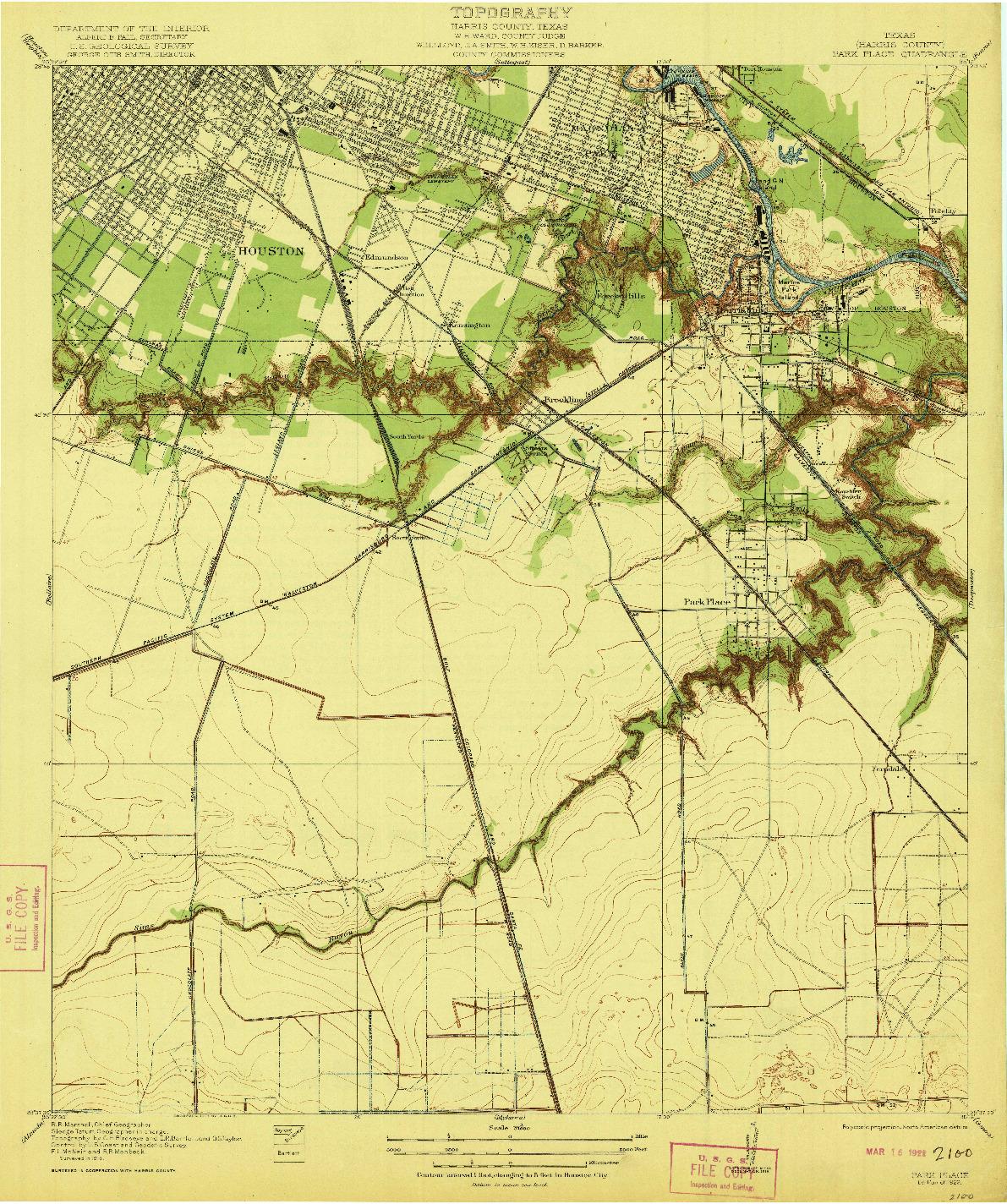 USGS 1:31680-SCALE QUADRANGLE FOR PARK PLACE, TX 1922