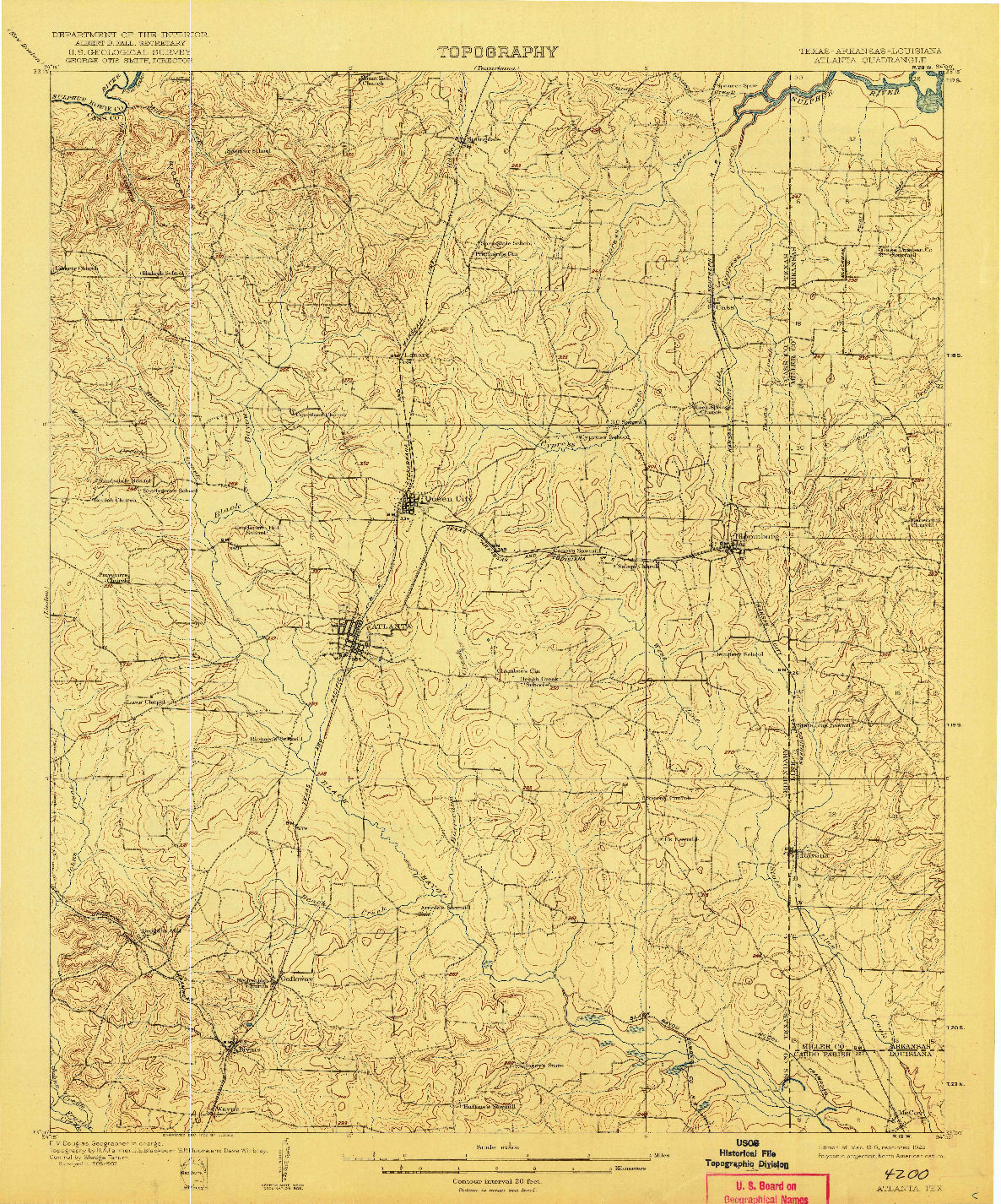USGS 1:62500-SCALE QUADRANGLE FOR ATLANTA, TX 1910