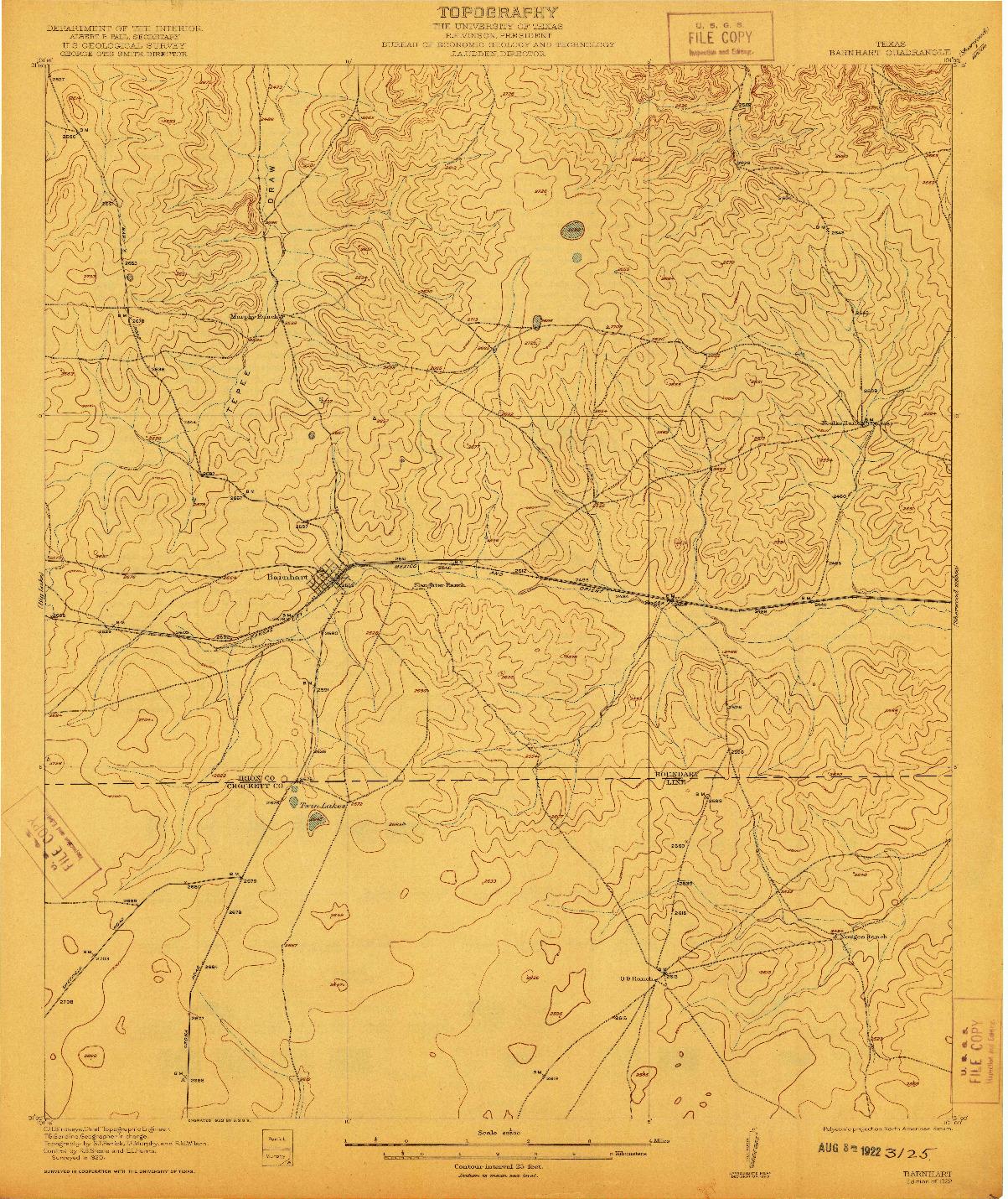 USGS 1:62500-SCALE QUADRANGLE FOR BARNHART, TX 1922