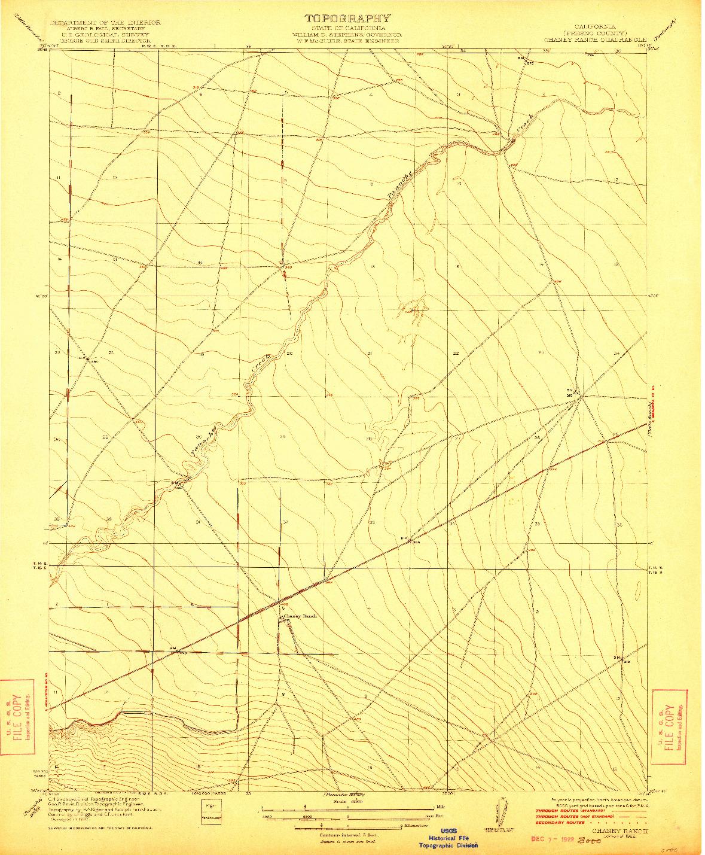 USGS 1:31680-SCALE QUADRANGLE FOR CHANEY RANCH, CA 1922