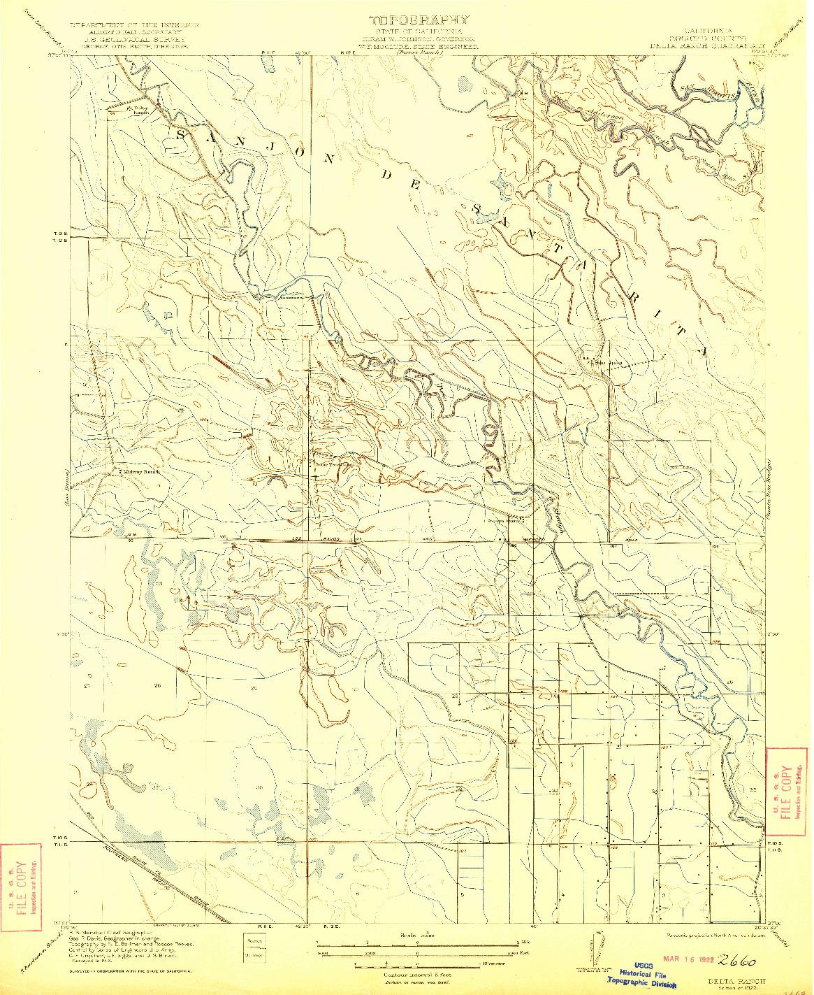 USGS 1:31680-SCALE QUADRANGLE FOR DELTA RANCH, CA 1922