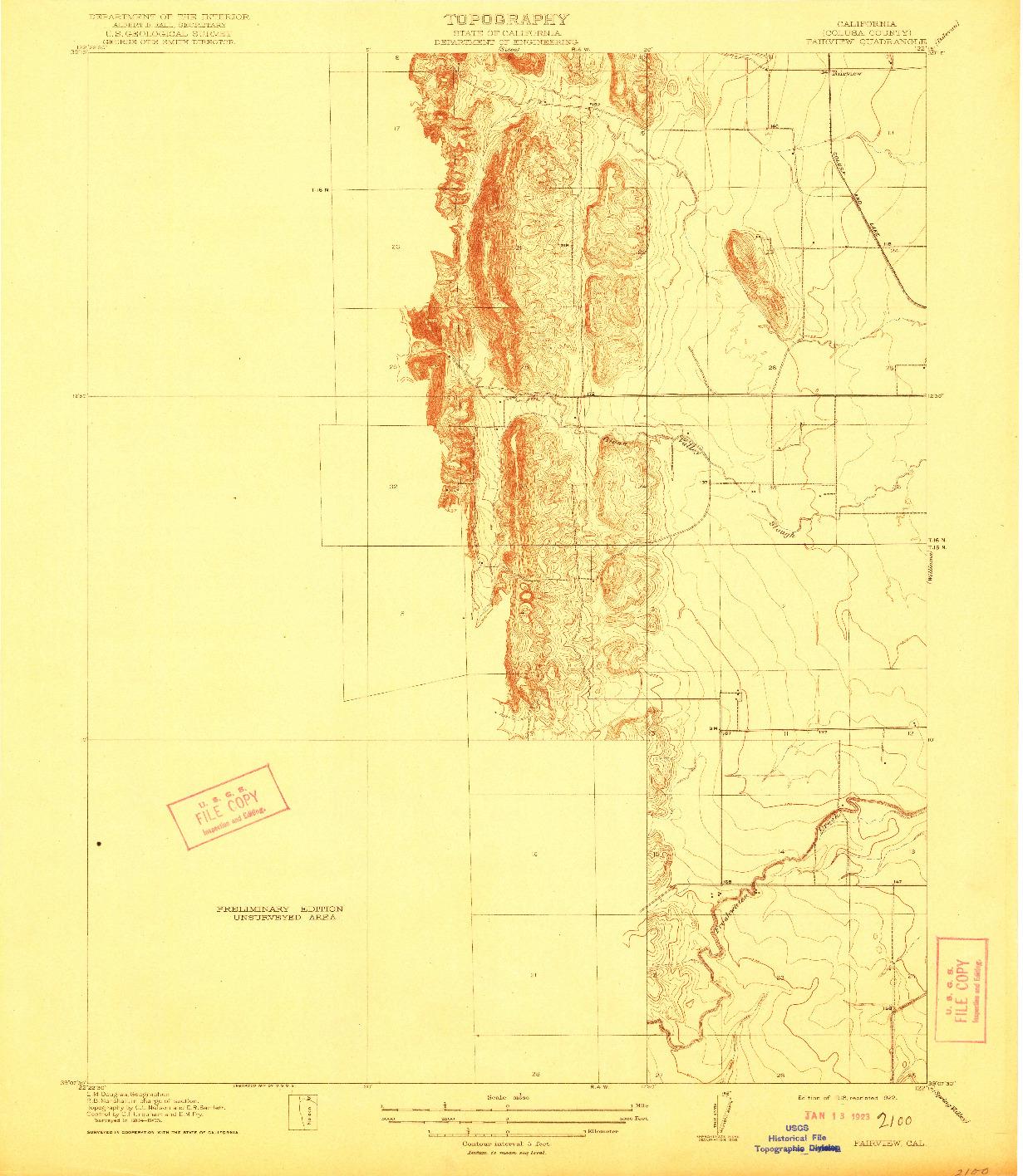 USGS 1:31680-SCALE QUADRANGLE FOR FAIRVIEW, CA 1918