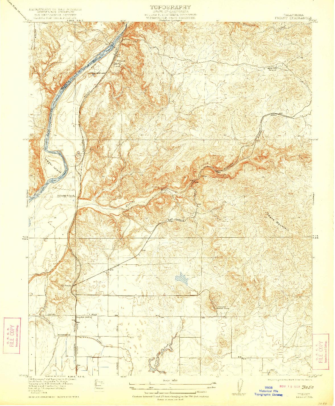 USGS 1:31680-SCALE QUADRANGLE FOR FRIANT, CA 1922