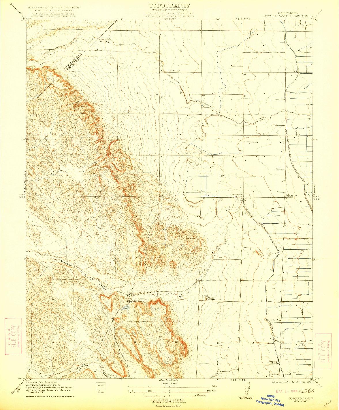 USGS 1:31680-SCALE QUADRANGLE FOR HOWARD RANCH, CA 1922