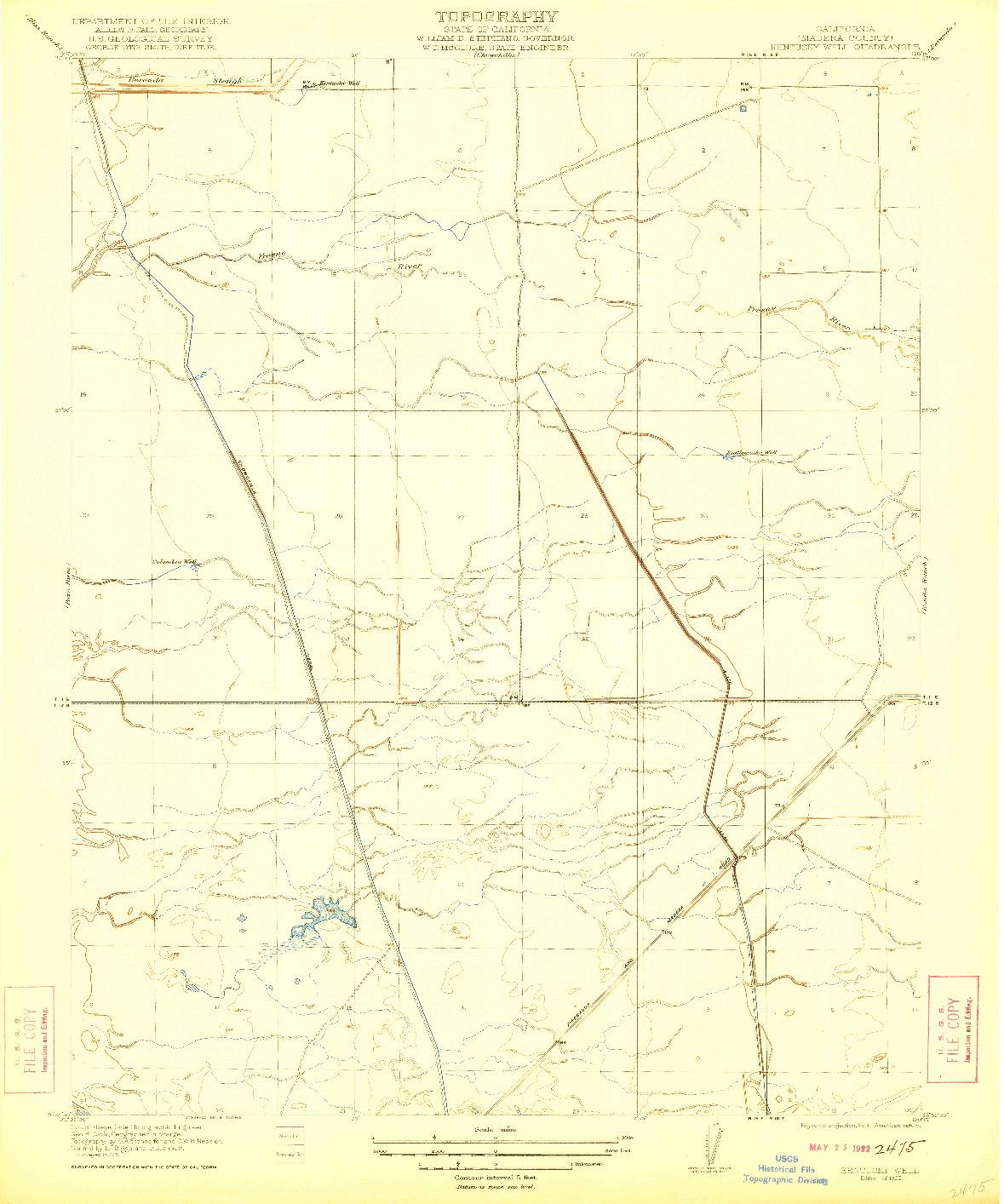 USGS 1:31680-SCALE QUADRANGLE FOR KENTUCKY WELL, CA 1922