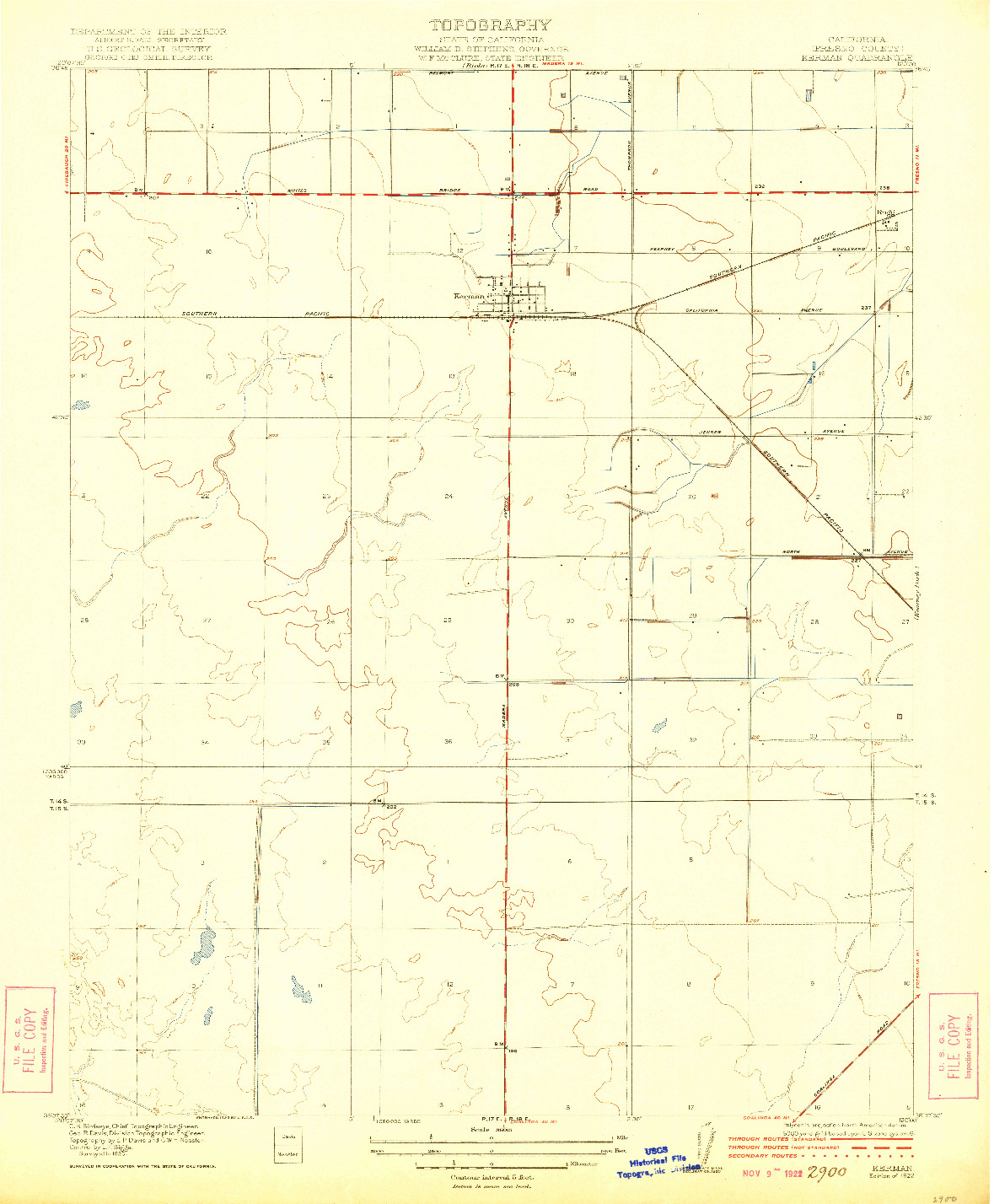 USGS 1:31680-SCALE QUADRANGLE FOR KERMAN, CA 1922