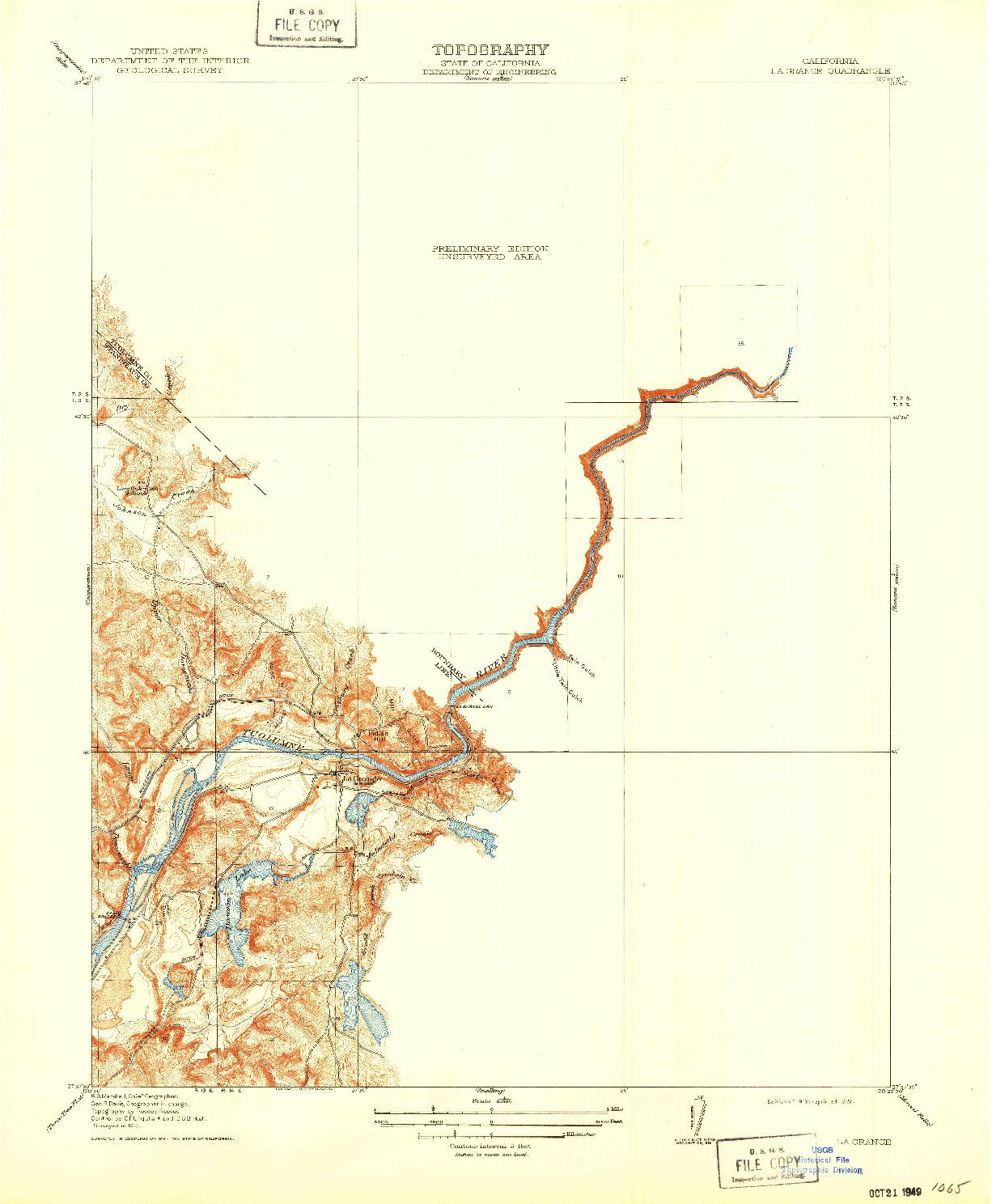 USGS 1:31680-SCALE QUADRANGLE FOR LA GRANGE, CA 1919