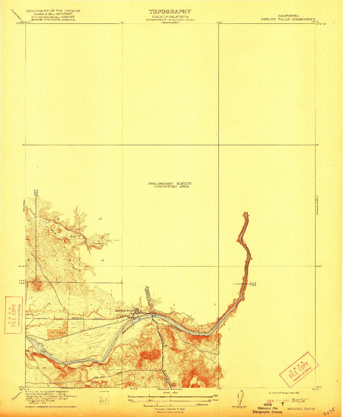 USGS 1:31680-SCALE QUADRANGLE FOR MERCED FALLS, CA 1919