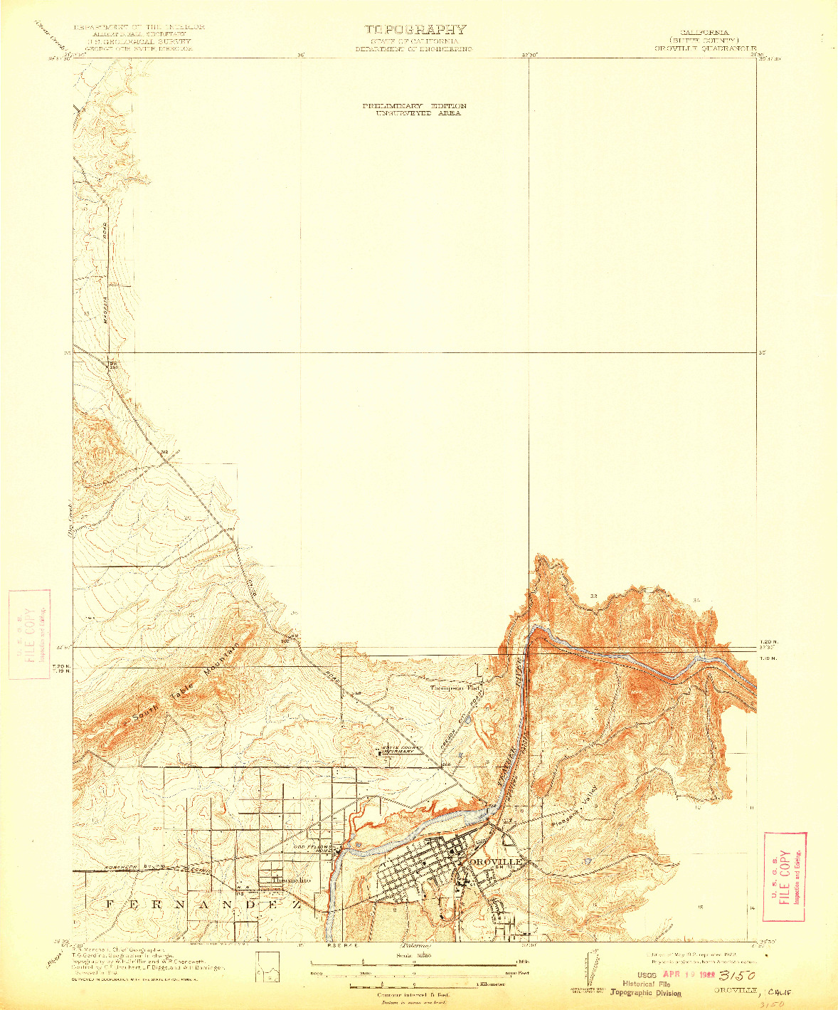 USGS 1:31680-SCALE QUADRANGLE FOR OROVILLE, CA 1912