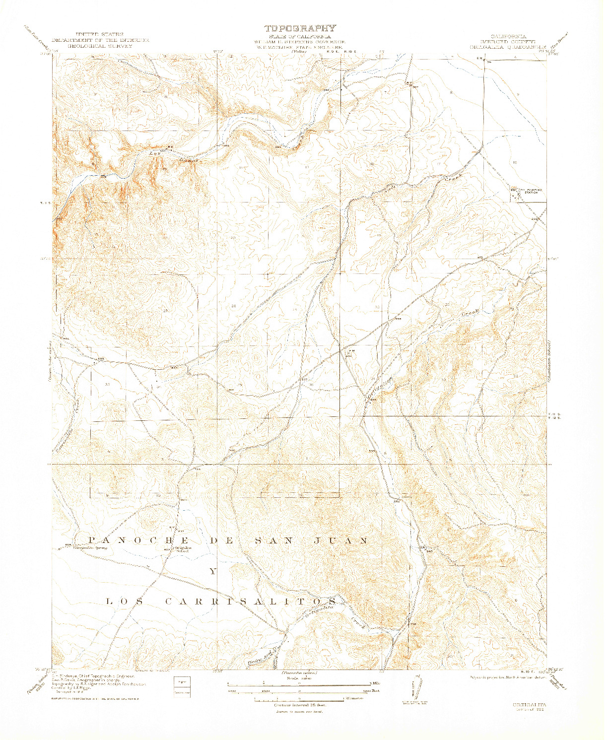 USGS 1:31680-SCALE QUADRANGLE FOR ORTIGALITA, CA 1922