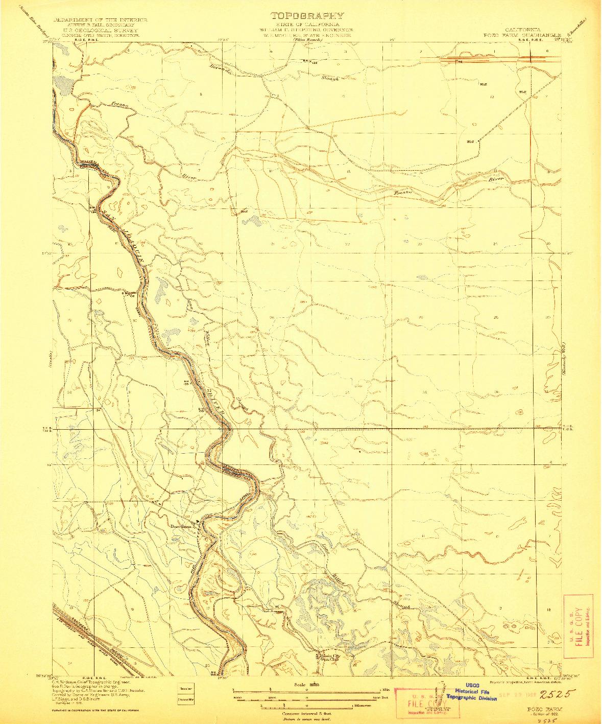 USGS 1:31680-SCALE QUADRANGLE FOR POZO FARM, CA 1922