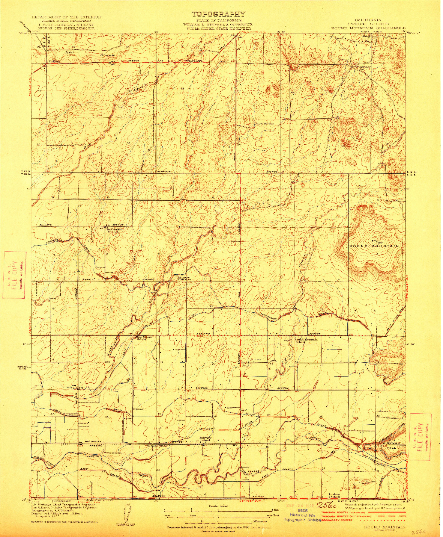 USGS 1:31680-SCALE QUADRANGLE FOR ROUND MOUNTAIN, CA 1922