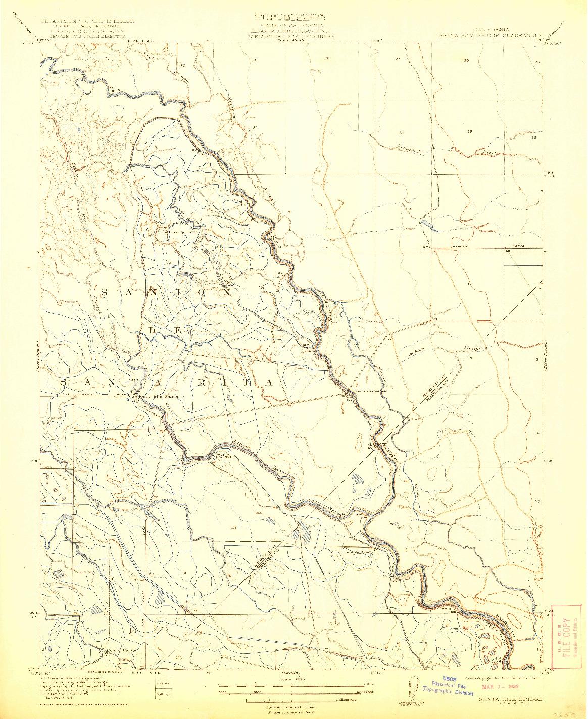 USGS 1:31680-SCALE QUADRANGLE FOR SANTA RITA BRIDGE, CA 1922