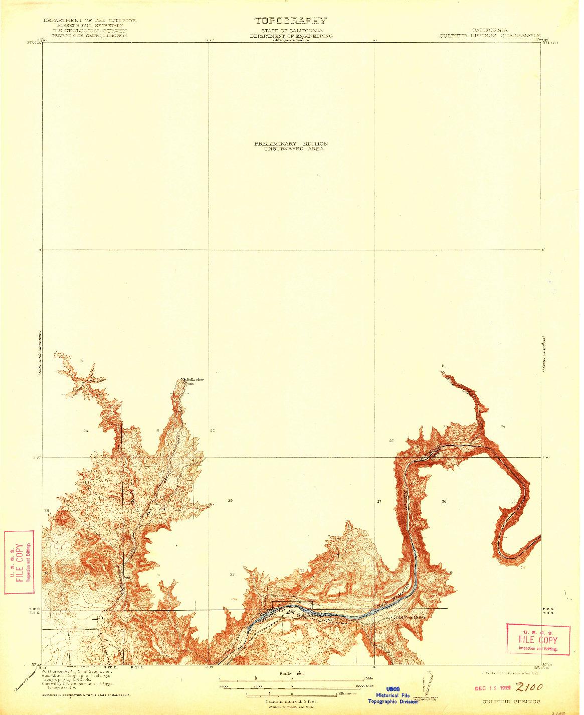 USGS 1:31680-SCALE QUADRANGLE FOR SULPHUR SPRINGS, CA 1919