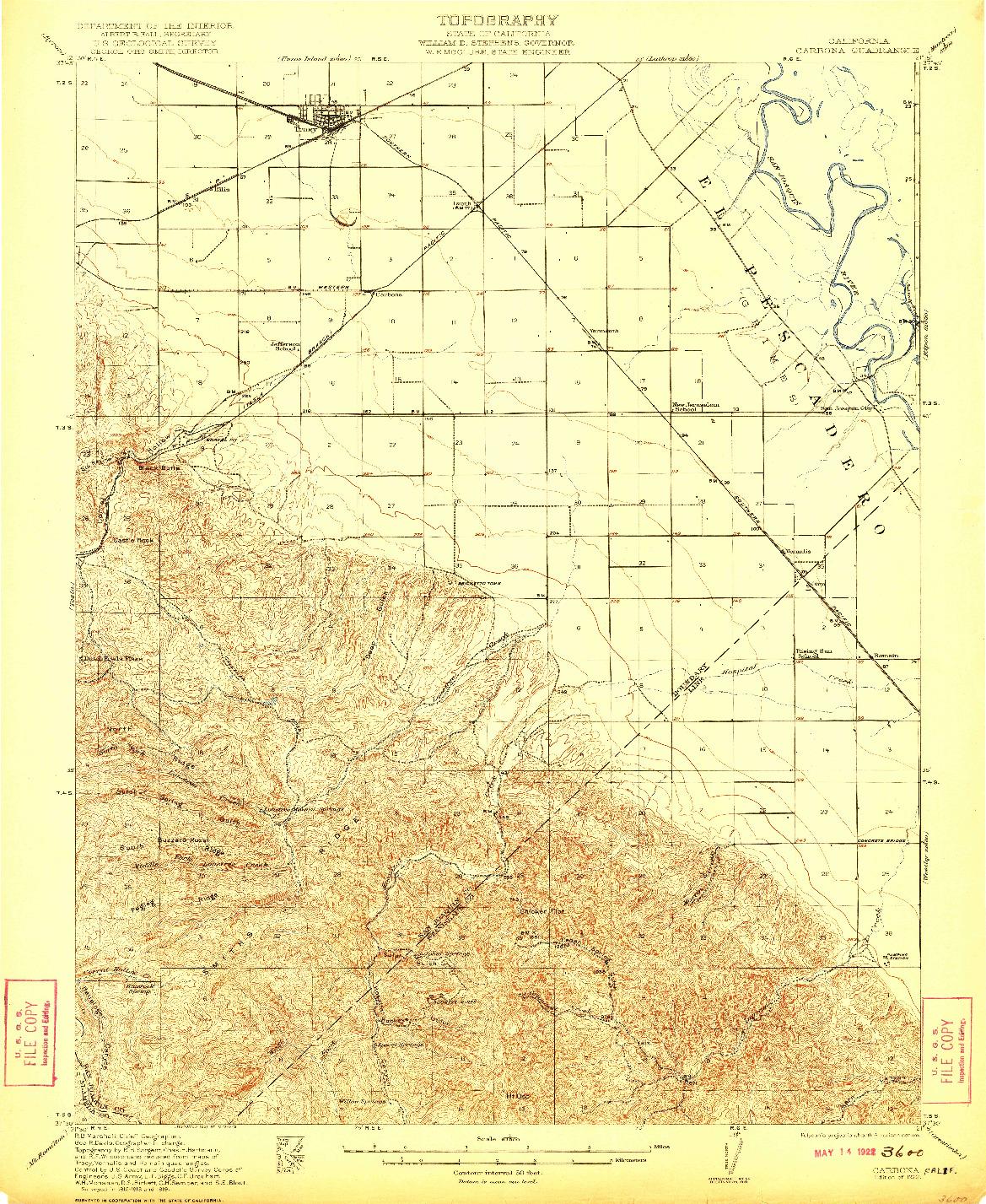 USGS 1:62500-SCALE QUADRANGLE FOR CARBONA, CA 1922