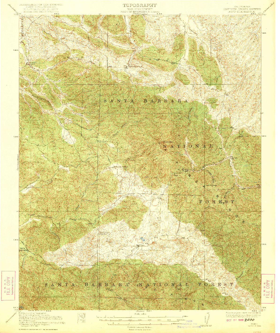 USGS 1:62500-SCALE QUADRANGLE FOR POZO, CA 1922