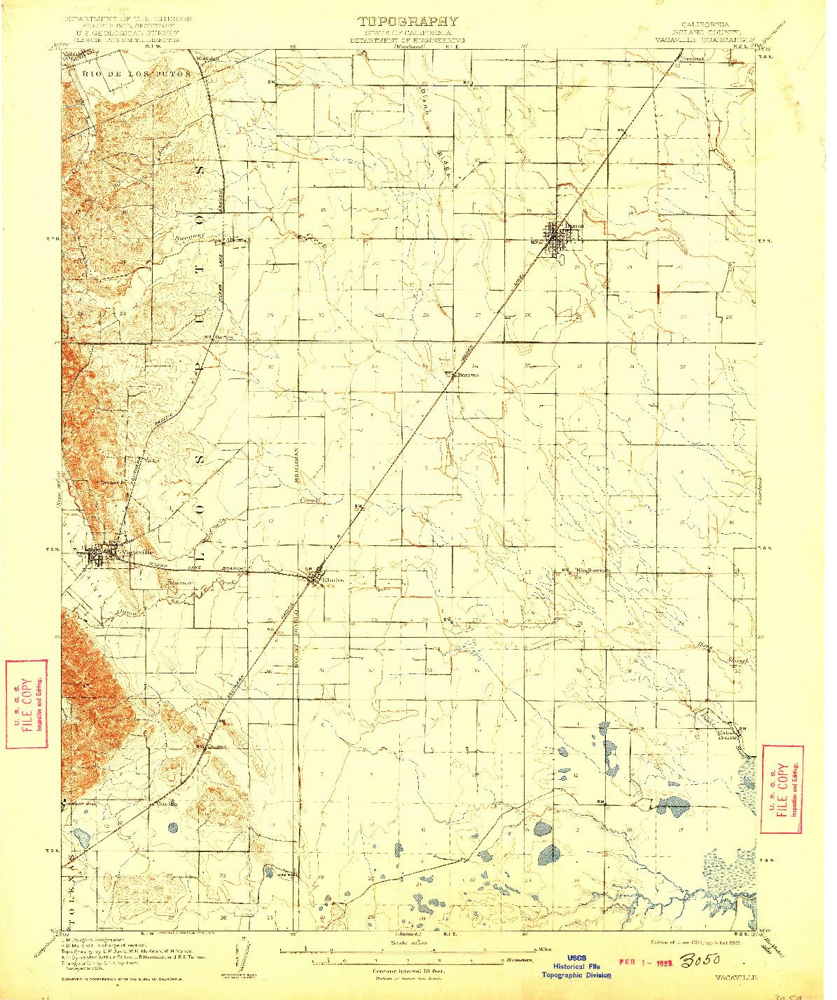 USGS 1:62500-SCALE QUADRANGLE FOR VACAVILLE, CA 1908
