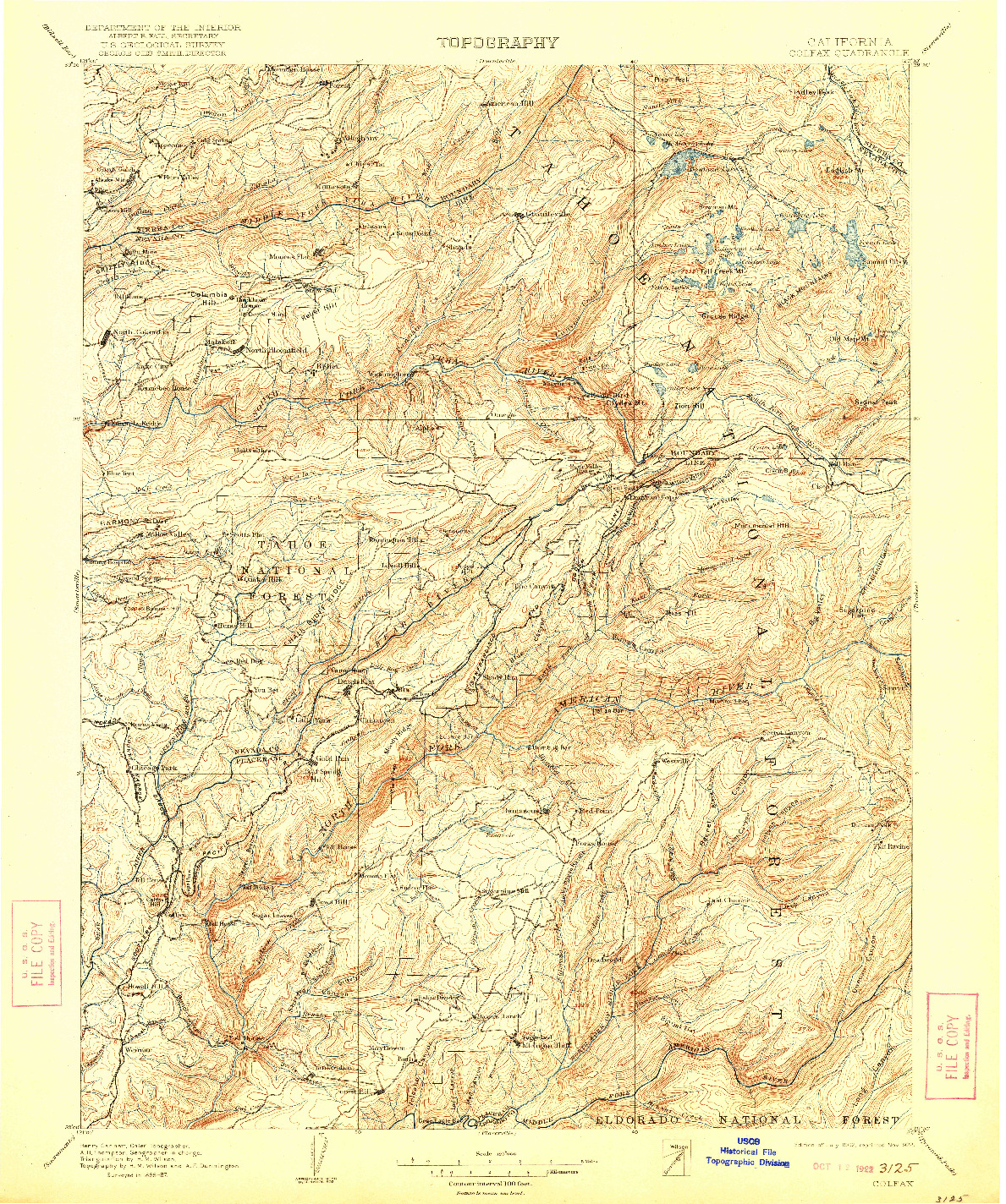 USGS 1:125000-SCALE QUADRANGLE FOR COLFAX, CA 1902
