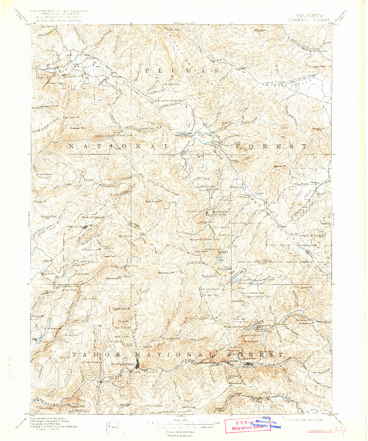 USGS 1:125000-SCALE QUADRANGLE FOR DOWNIEVILLE, CA 1897