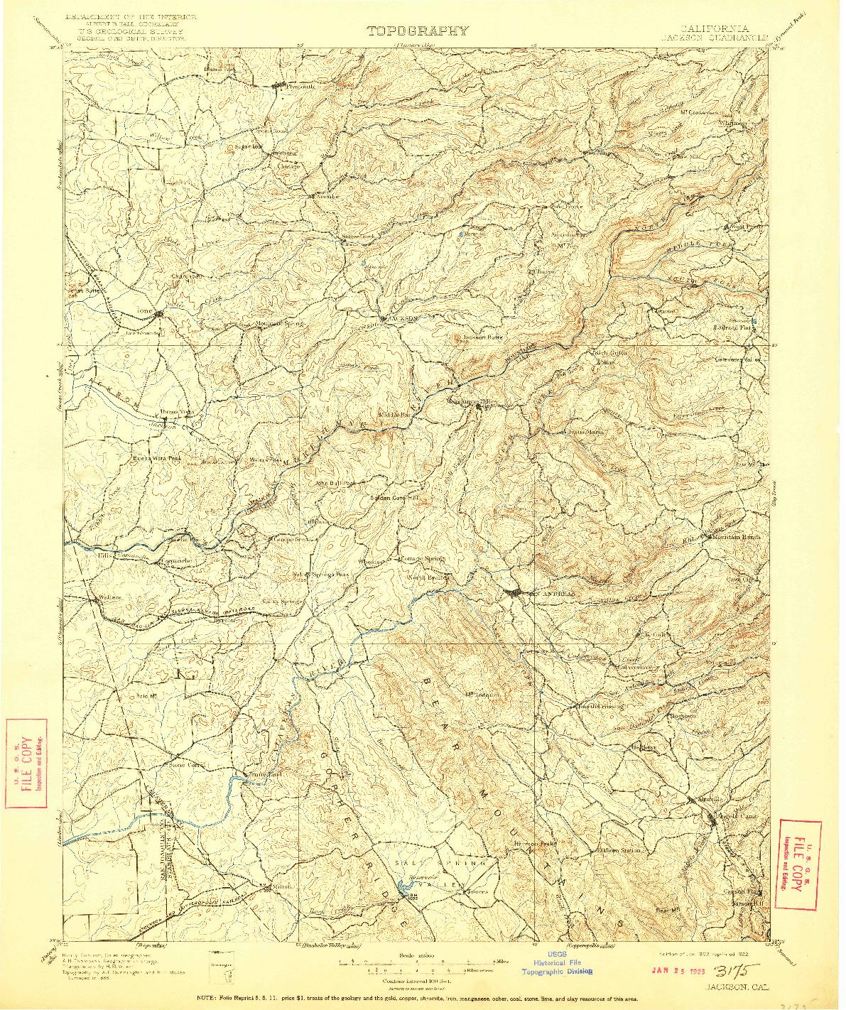 USGS 1:125000-SCALE QUADRANGLE FOR JACKSON, CA 1902