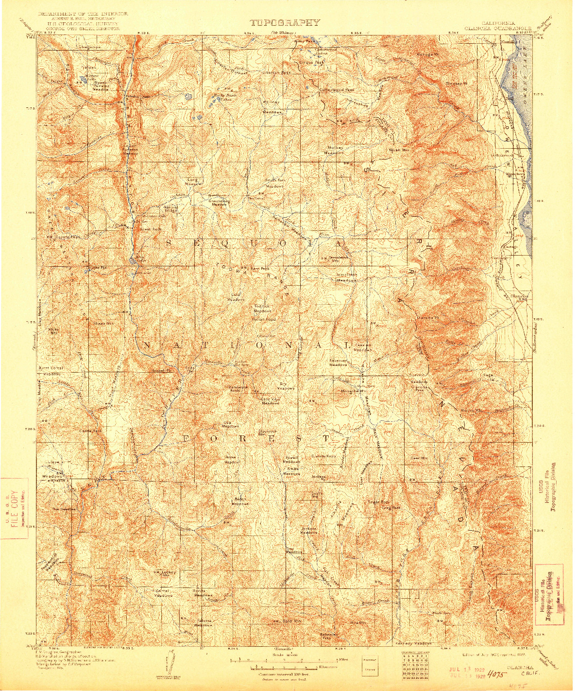 USGS 1:125000-SCALE QUADRANGLE FOR OLANCHA, CA 1907