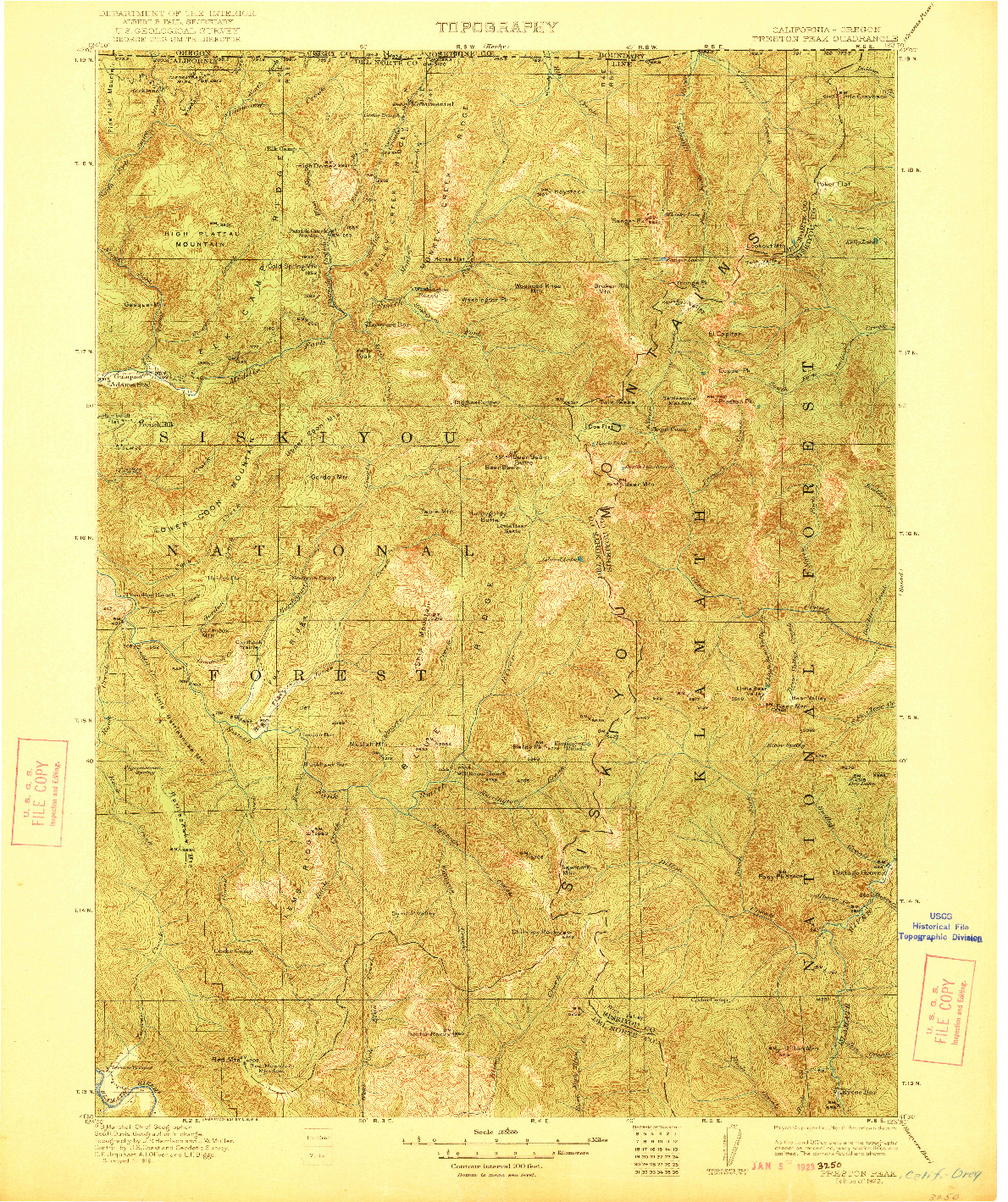 USGS 1:125000-SCALE QUADRANGLE FOR PRESTON PEAK, CA 1922