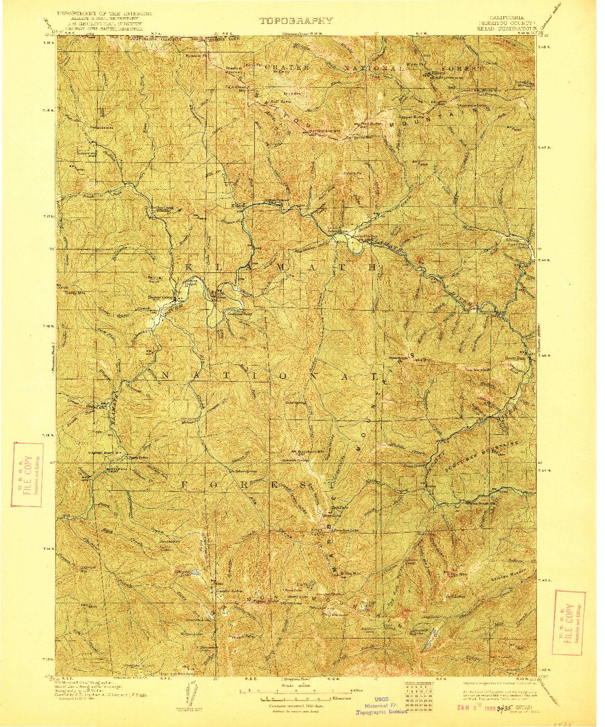USGS 1:125000-SCALE QUADRANGLE FOR SEIAD, CA 1922