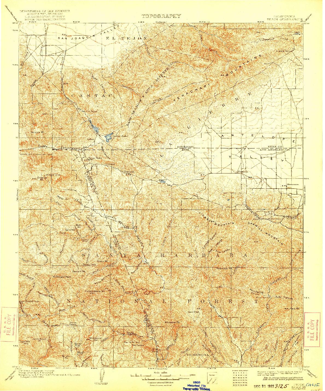 USGS 1:125000-SCALE QUADRANGLE FOR TEJON, CA 1903