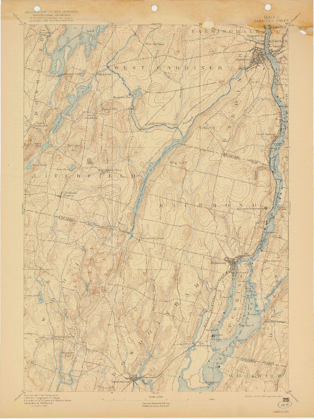 USGS 1:62500-SCALE QUADRANGLE FOR GARDINER, ME 1892