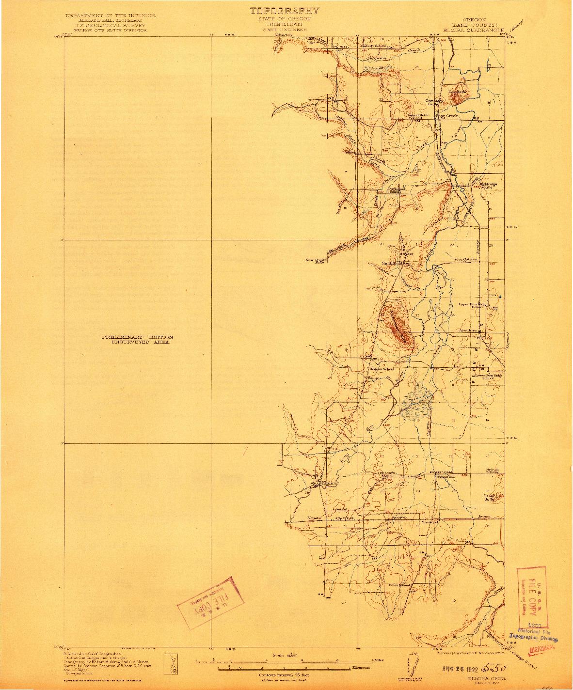 USGS 1:62500-SCALE QUADRANGLE FOR ELMIRA, OR 1922