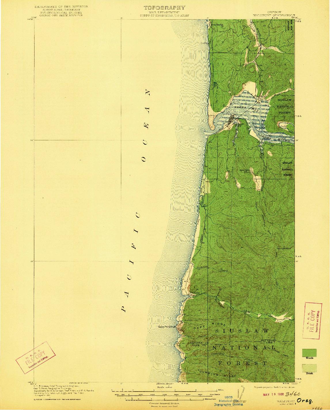 USGS 1:62500-SCALE QUADRANGLE FOR WALDPORT, OR 1922