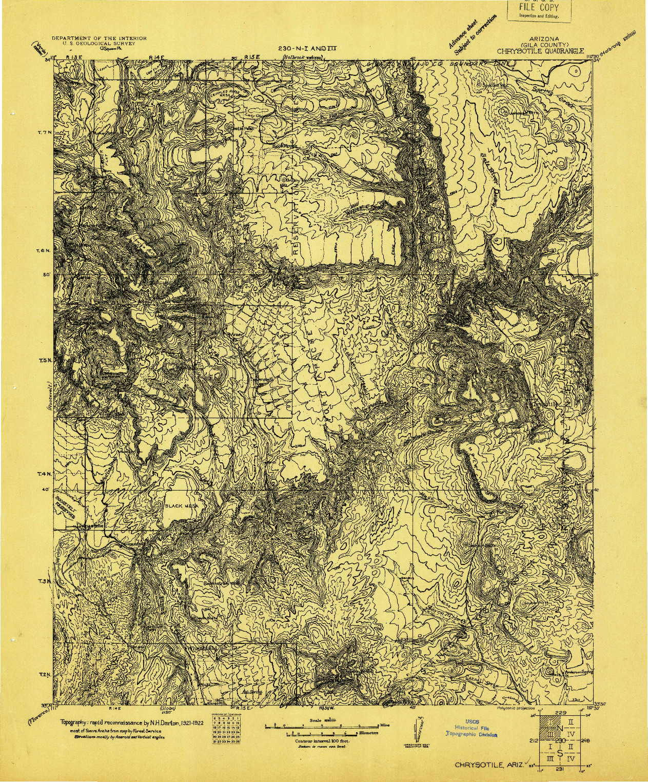 USGS 1:125000-SCALE QUADRANGLE FOR CHRYSOTILE, AZ 1922