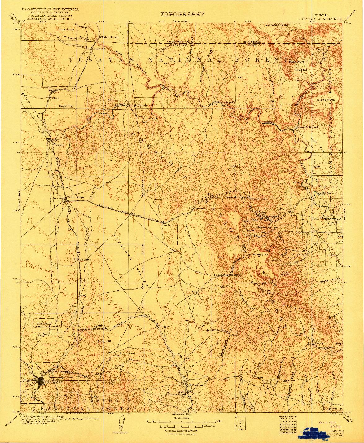 USGS 1:125000-SCALE QUADRANGLE FOR JEROME, AZ 1905