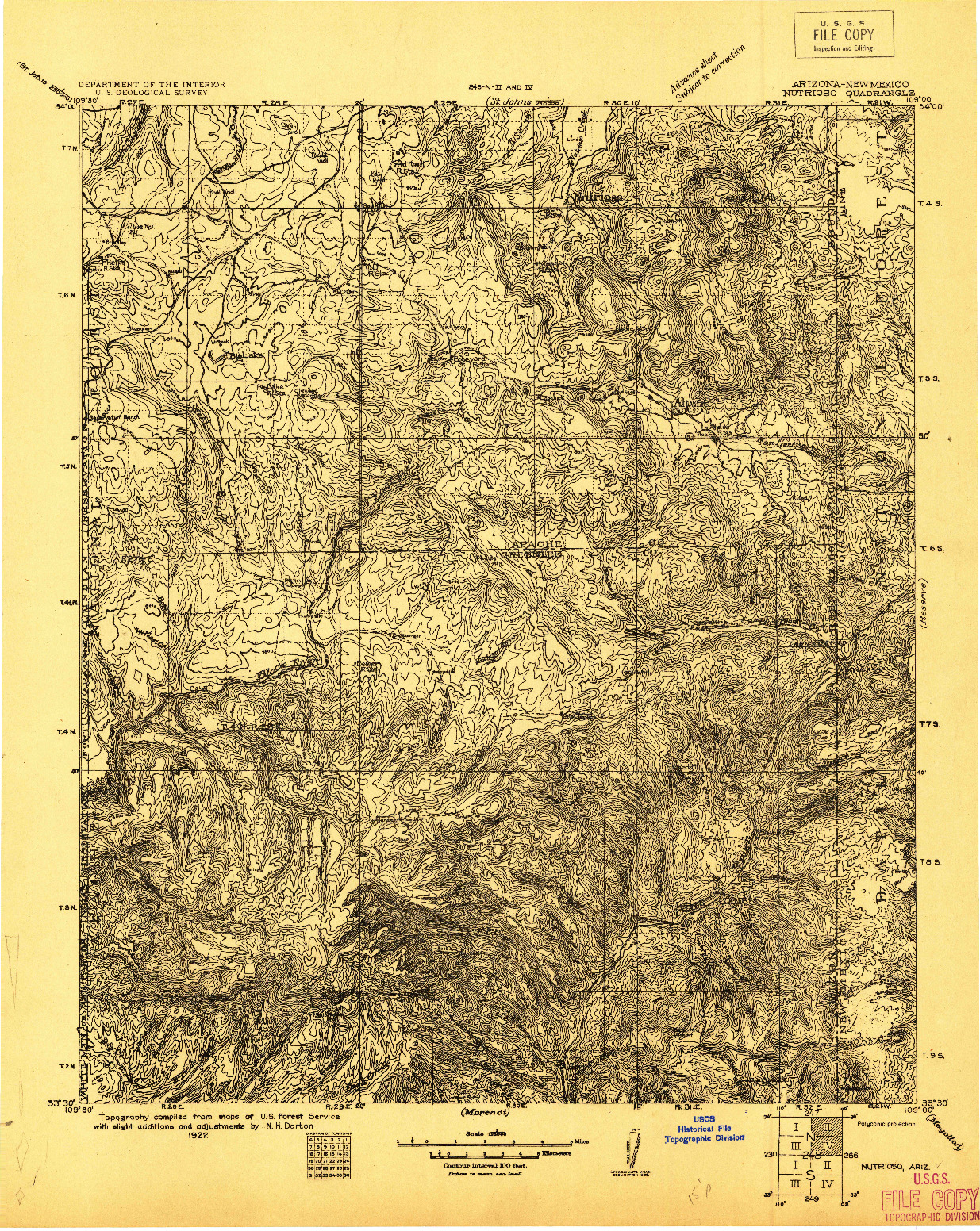 USGS 1:125000-SCALE QUADRANGLE FOR NUTRIOSO, AZ 1922