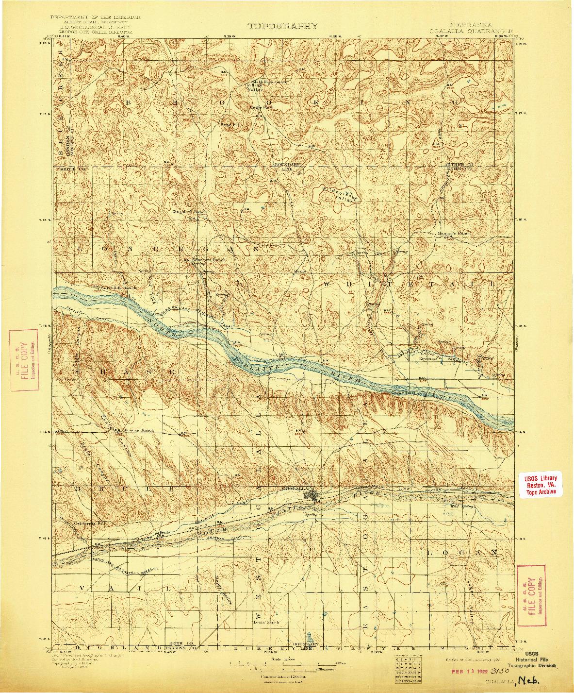 USGS 1:125000-SCALE QUADRANGLE FOR OGALLALA, NE 1900