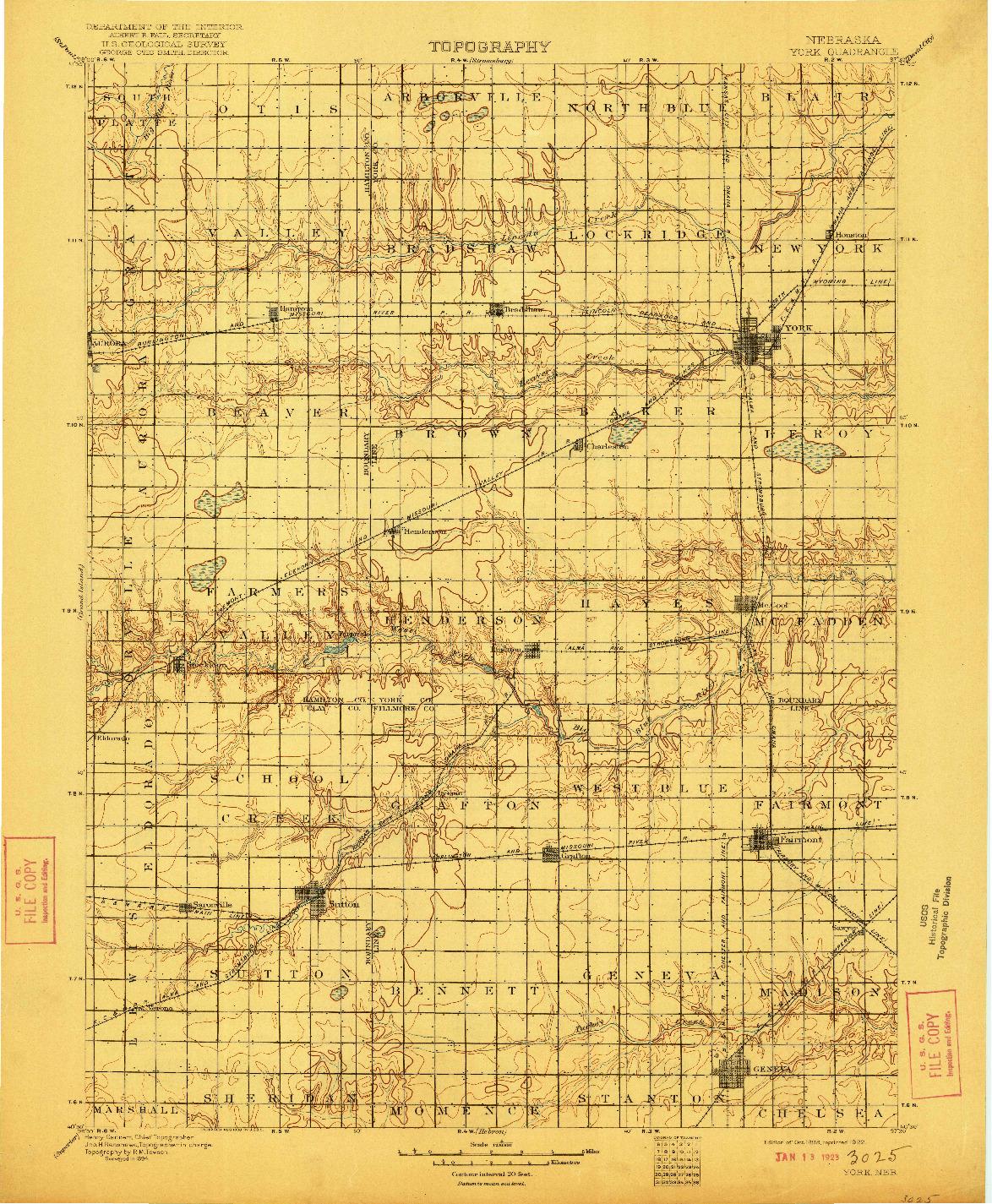 USGS 1:125000-SCALE QUADRANGLE FOR YORK, NE 1899