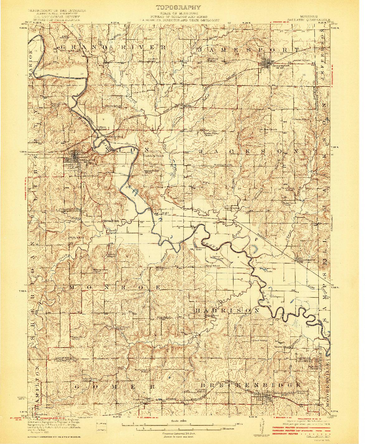 USGS 1:62500-SCALE QUADRANGLE FOR GALLATIN, MO 1922