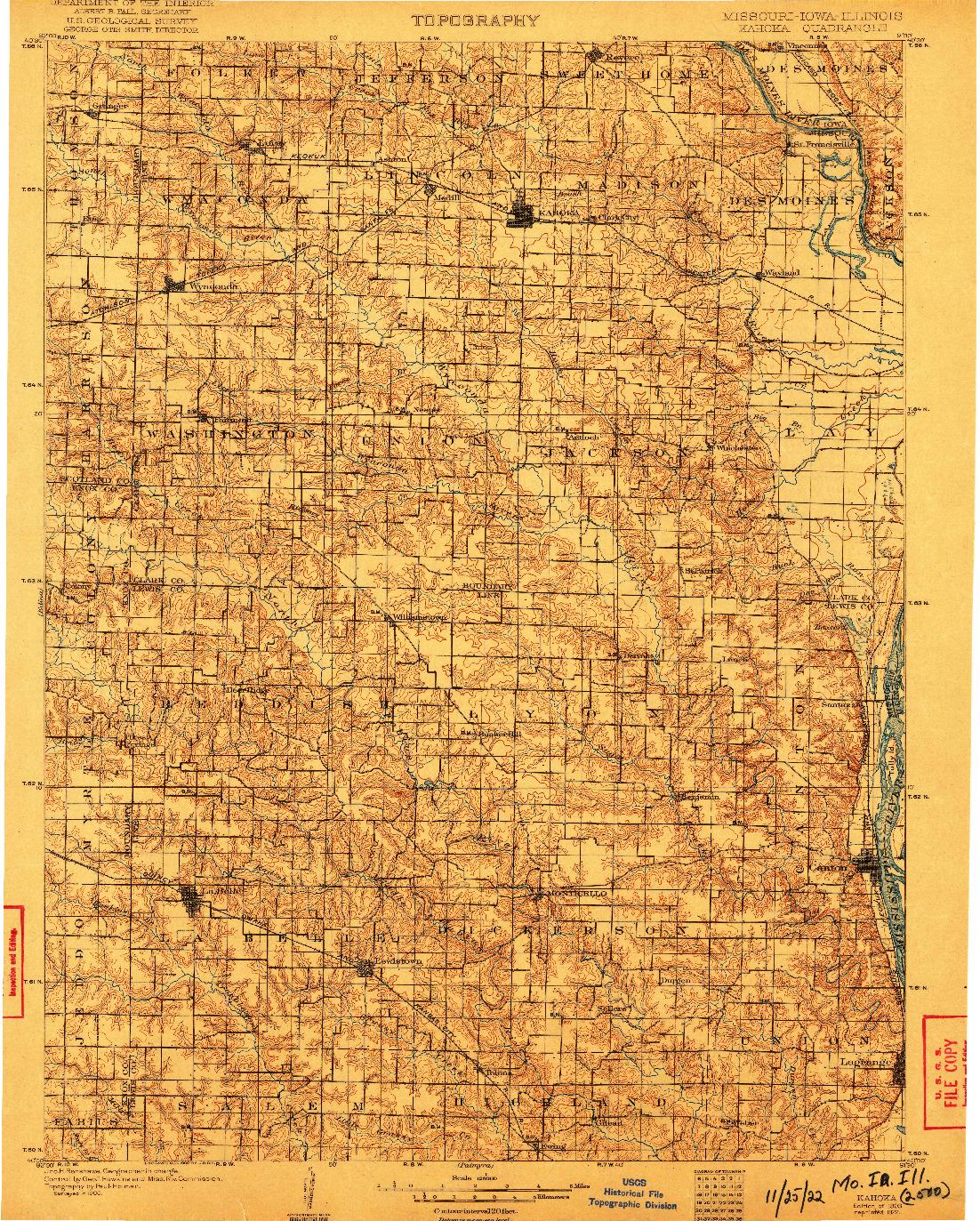 USGS 1:125000-SCALE QUADRANGLE FOR KAHOKA, MO 1903