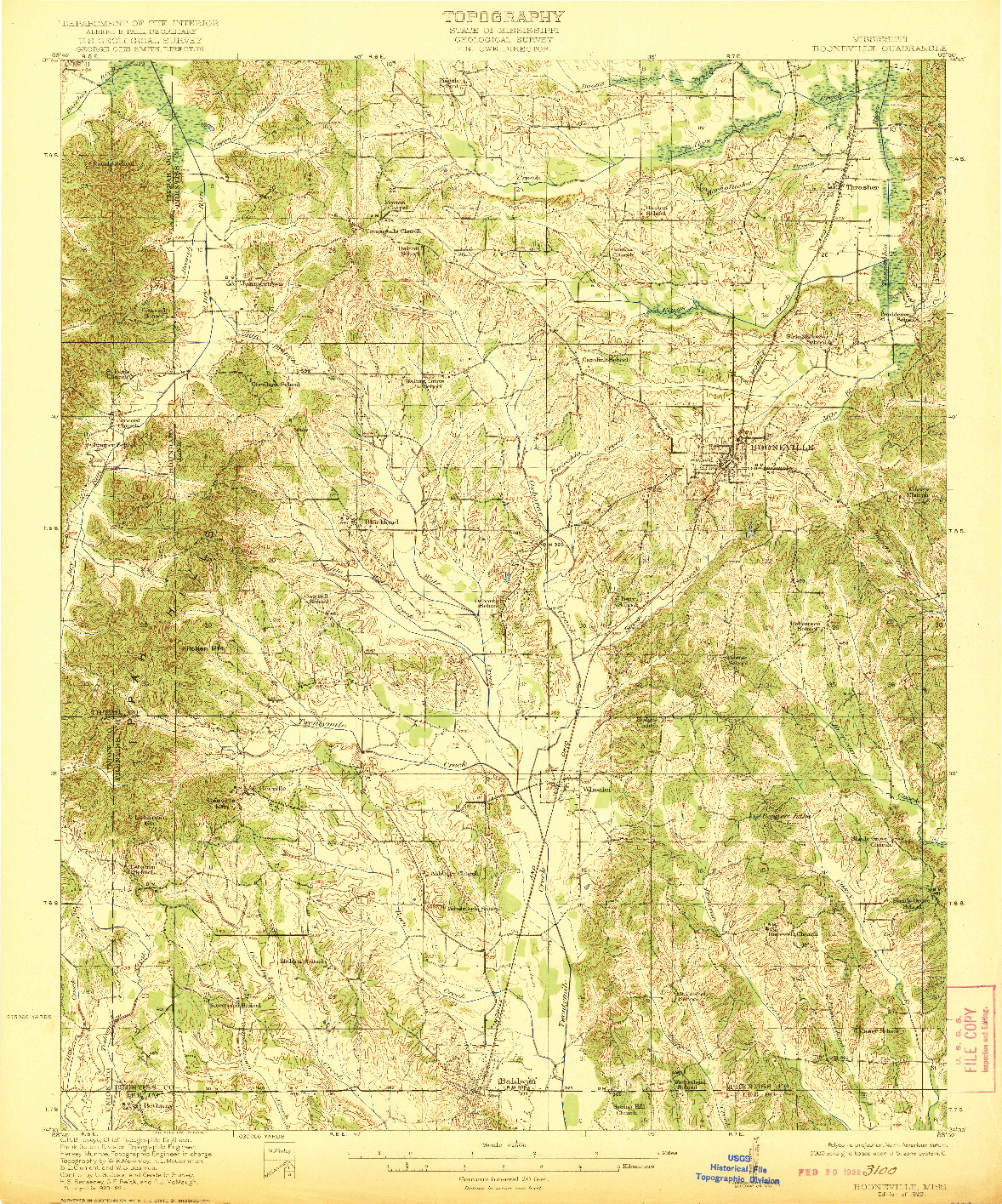 USGS 1:62500-SCALE QUADRANGLE FOR BOONEVILLE, MS 1922