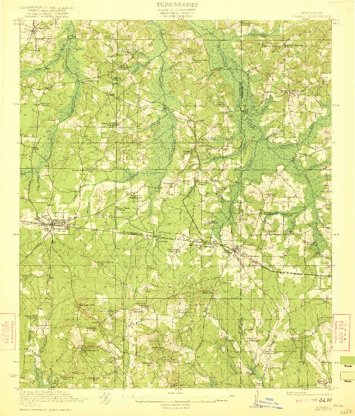 USGS 1:62500-SCALE QUADRANGLE FOR FOREST, MS 1922