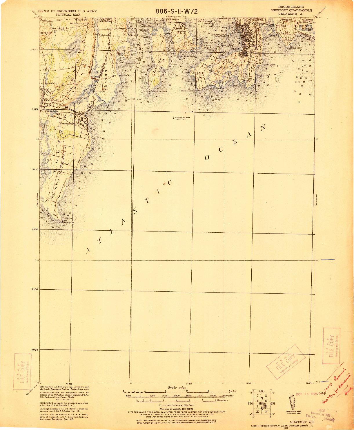 USGS 1:62500-SCALE QUADRANGLE FOR NEWPORT, RI 1922