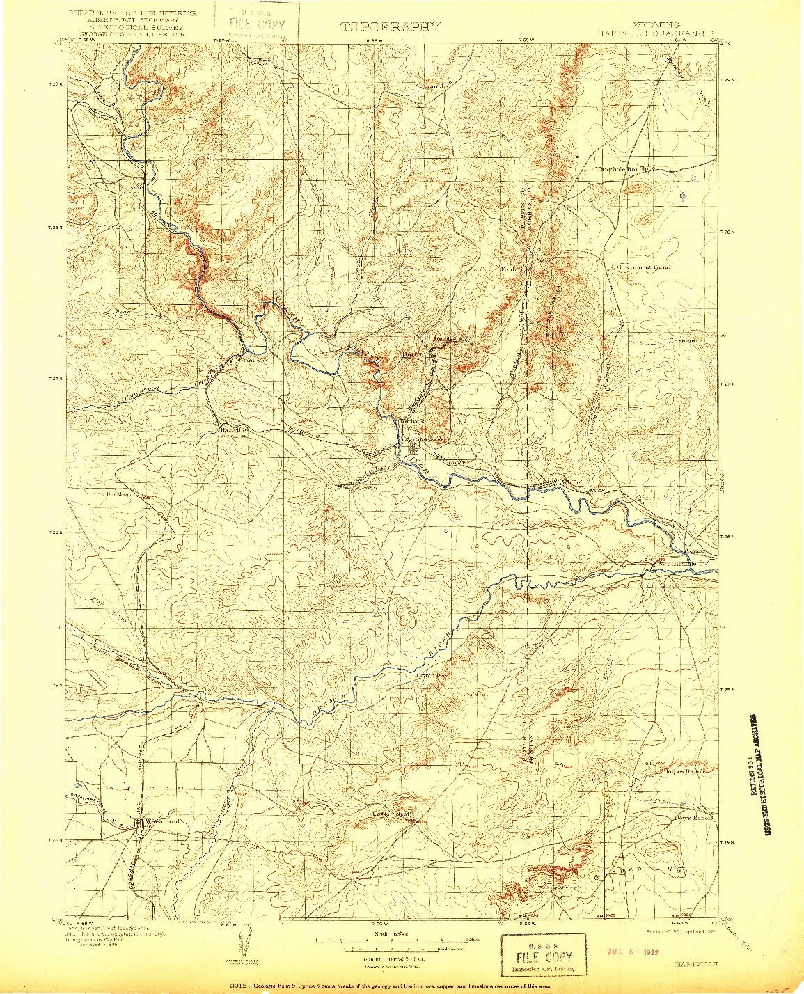 USGS 1:125000-SCALE QUADRANGLE FOR HARTVILLE, WY 1901