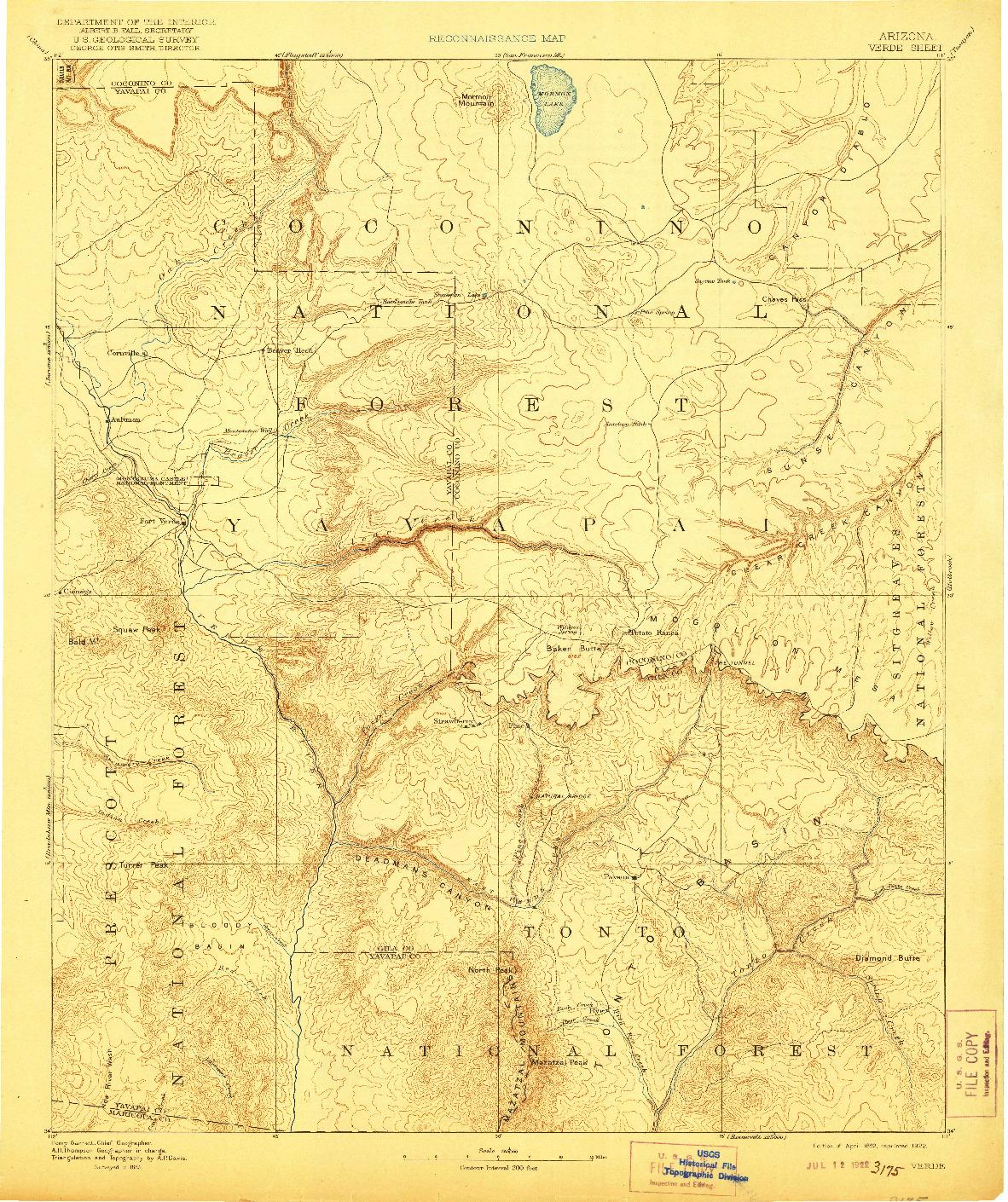 USGS 1:250000-SCALE QUADRANGLE FOR VERDE, AZ 1892