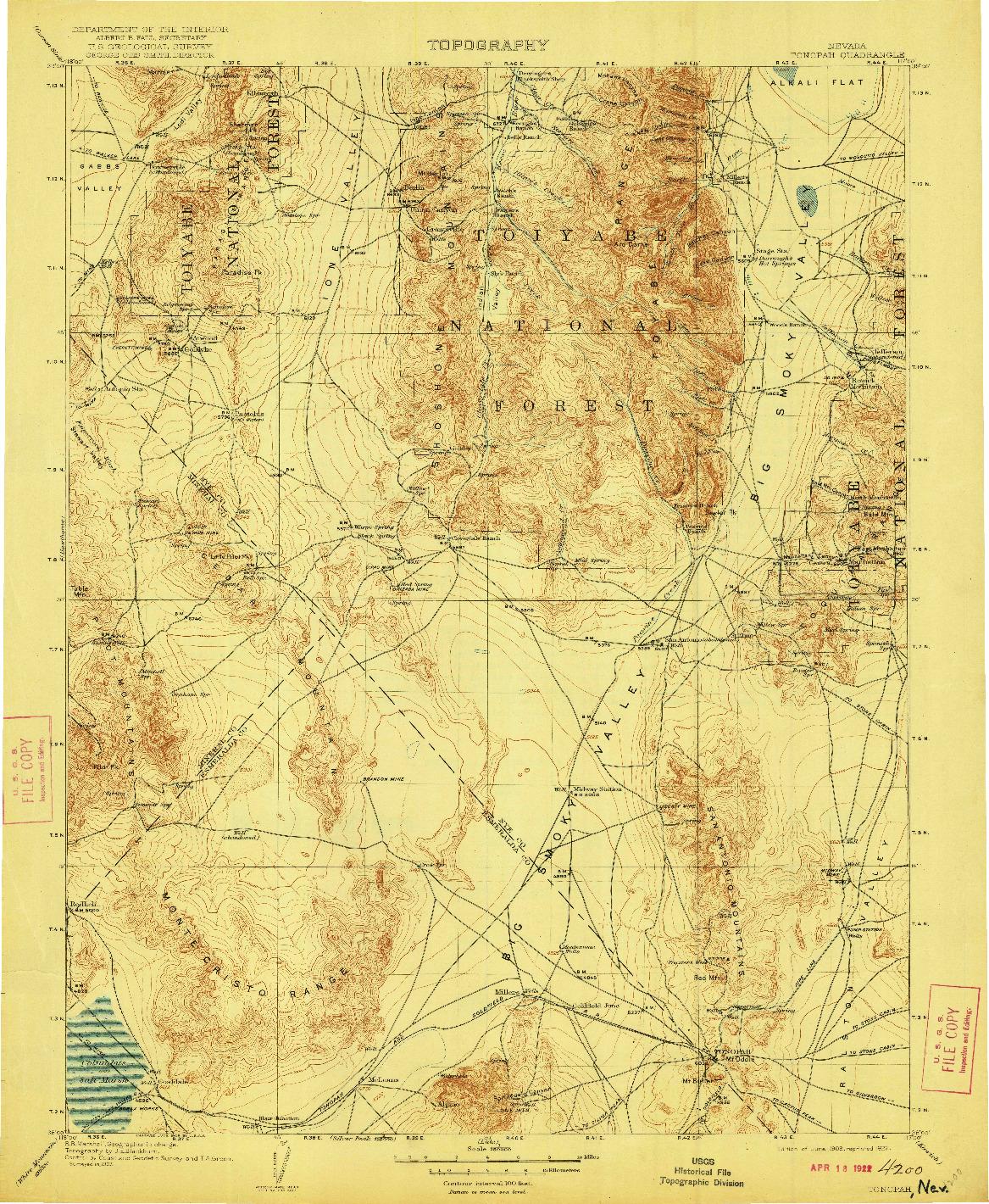 USGS 1:250000-SCALE QUADRANGLE FOR TONOPAH, NV 1908