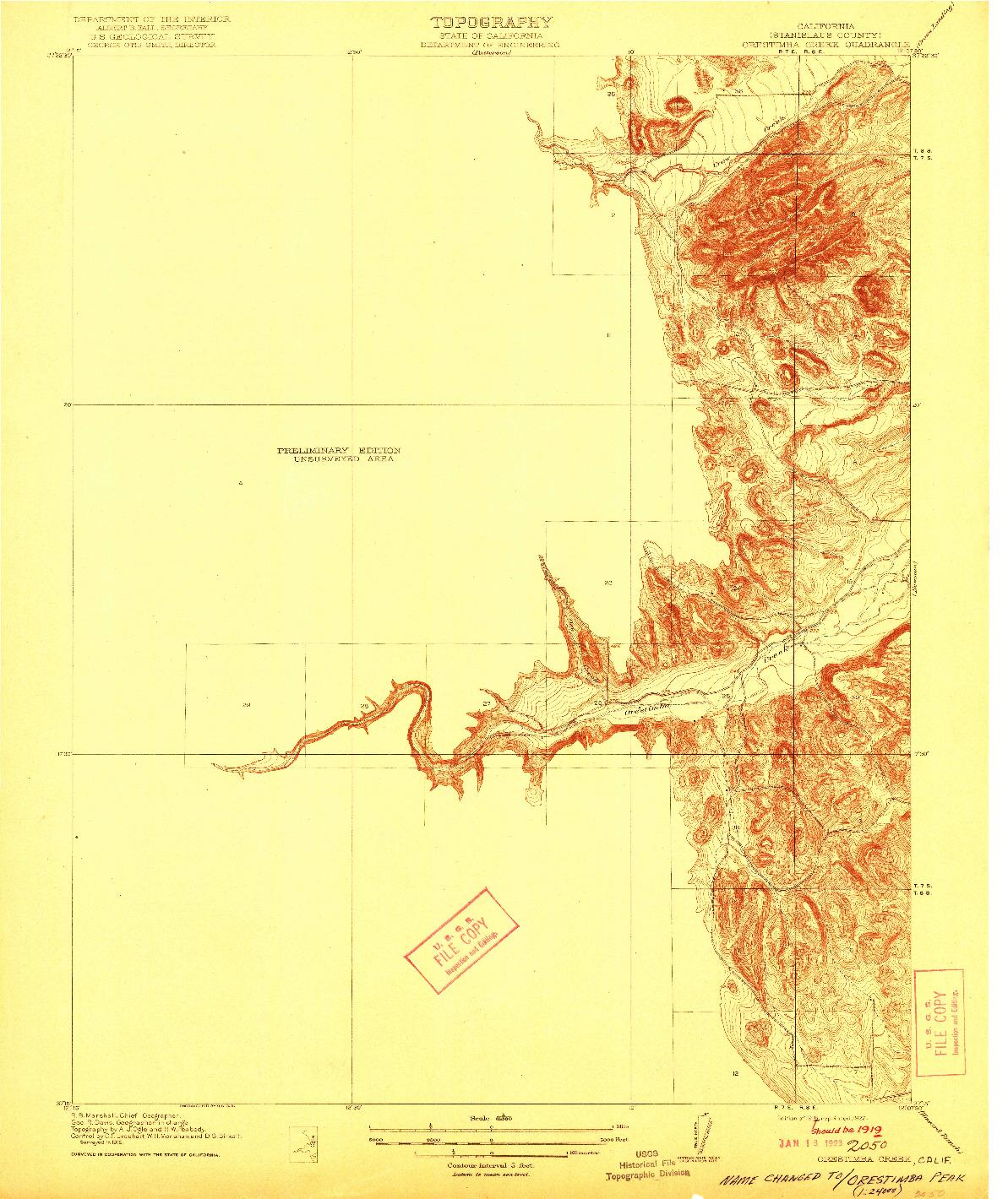 USGS 1:31680-SCALE QUADRANGLE FOR ORESTIMBA CREEK, CA 1919