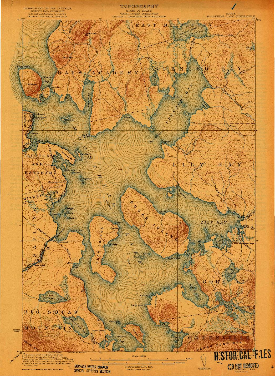 USGS 1:62500-SCALE QUADRANGLE FOR MOOSEHEAD LAKE, ME 1922