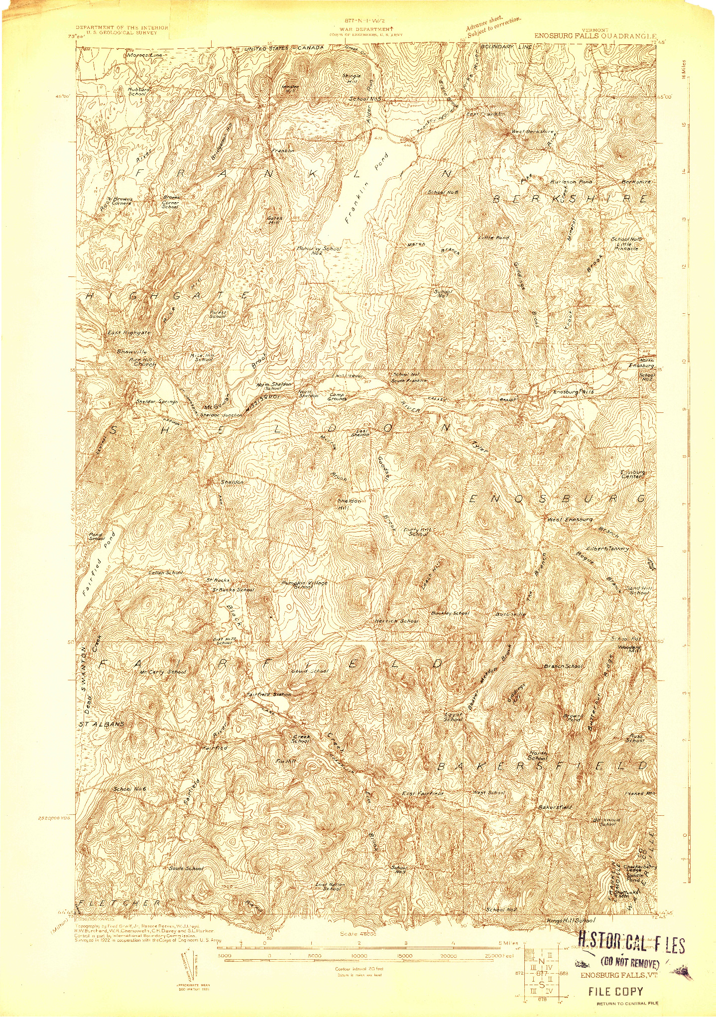 USGS 1:48000-SCALE QUADRANGLE FOR ENOSBURG FALLS, VT 1922