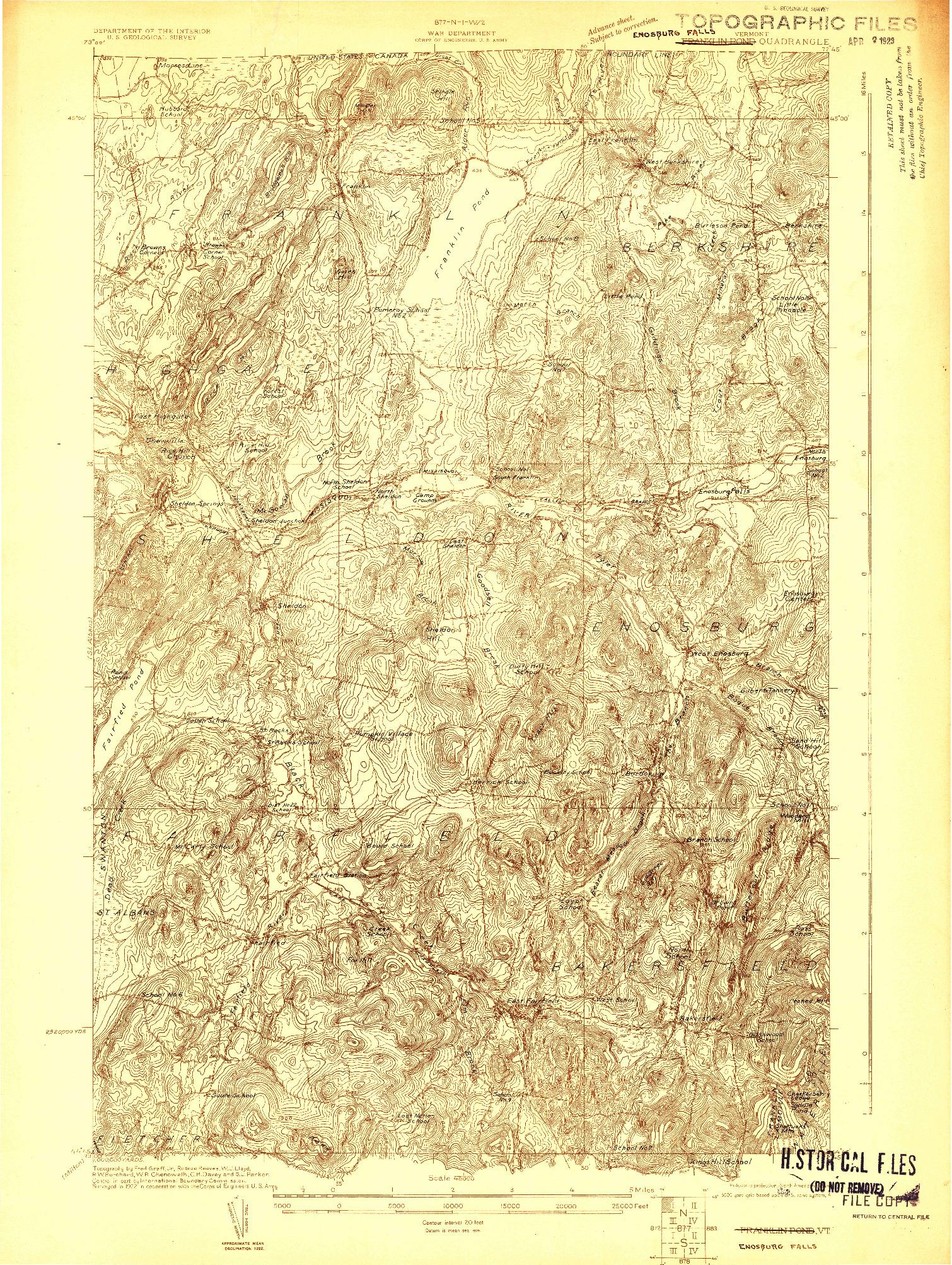 USGS 1:48000-SCALE QUADRANGLE FOR FRANKLIN POND, VT 1922