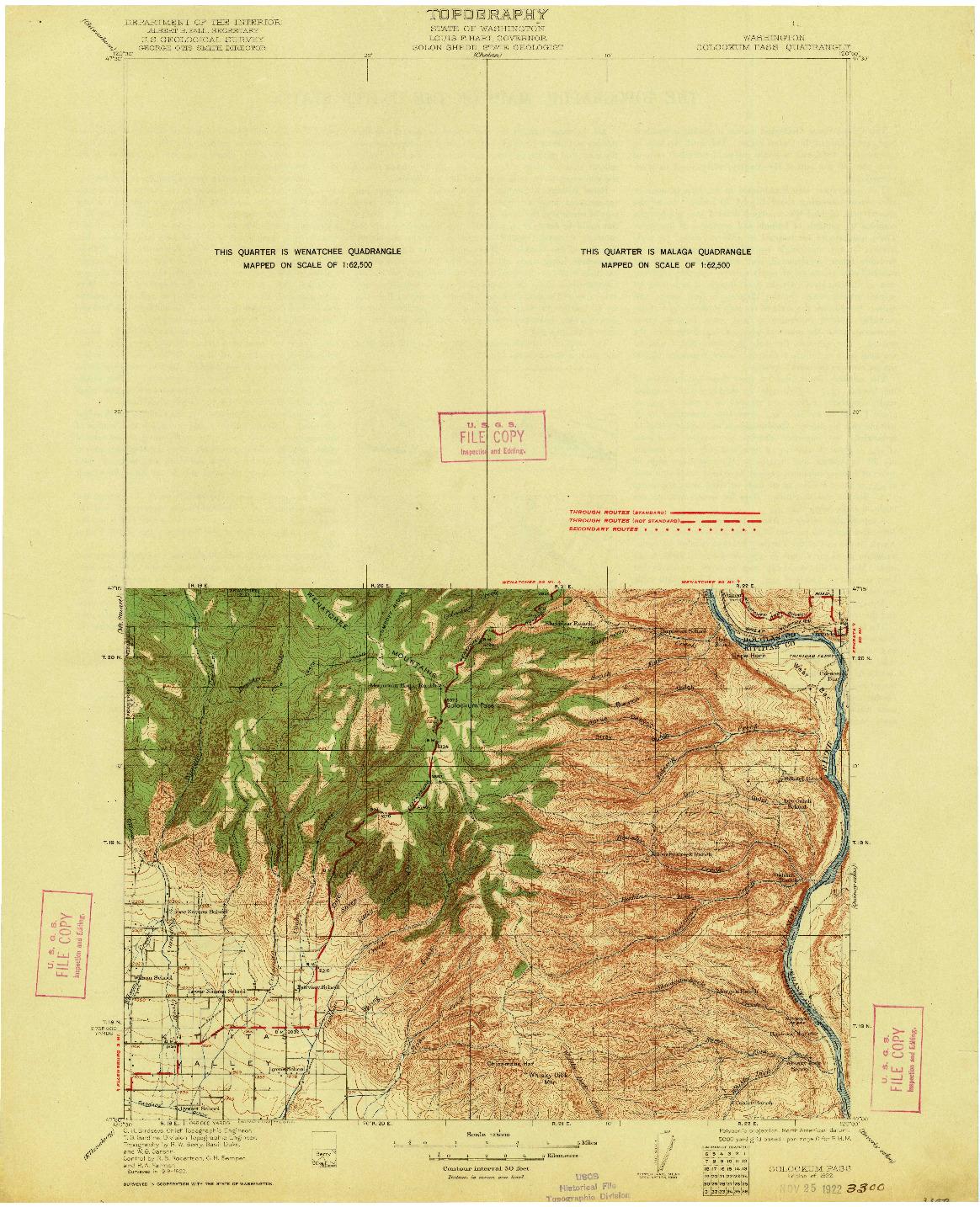 USGS 1:125000-SCALE QUADRANGLE FOR COLOCKUM PASS, WA 1922