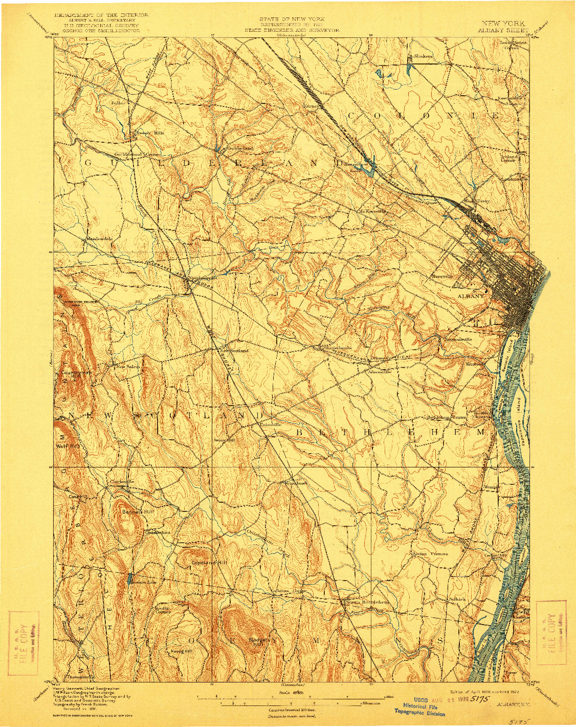 USGS 1:62500-SCALE QUADRANGLE FOR ALBANY, NY 1898